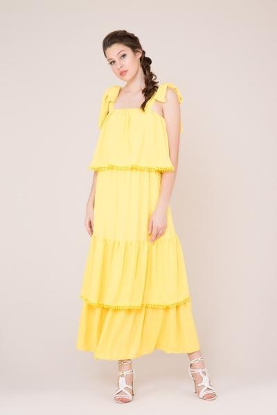 GIZIA CASUAL - Kuşak Detaylı Sarı Uzun Elbise