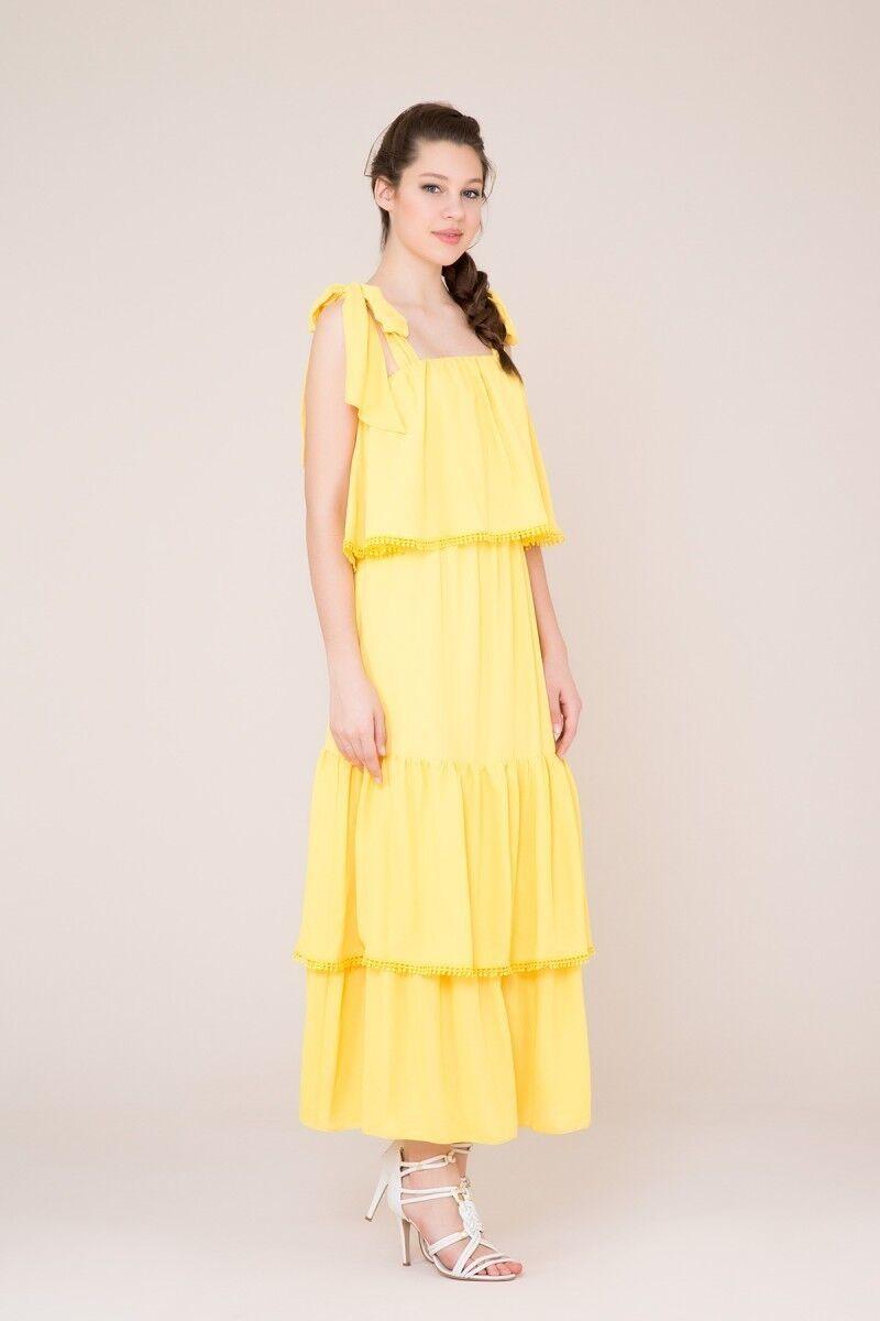 Kuşak Detaylı Sarı Uzun Elbise