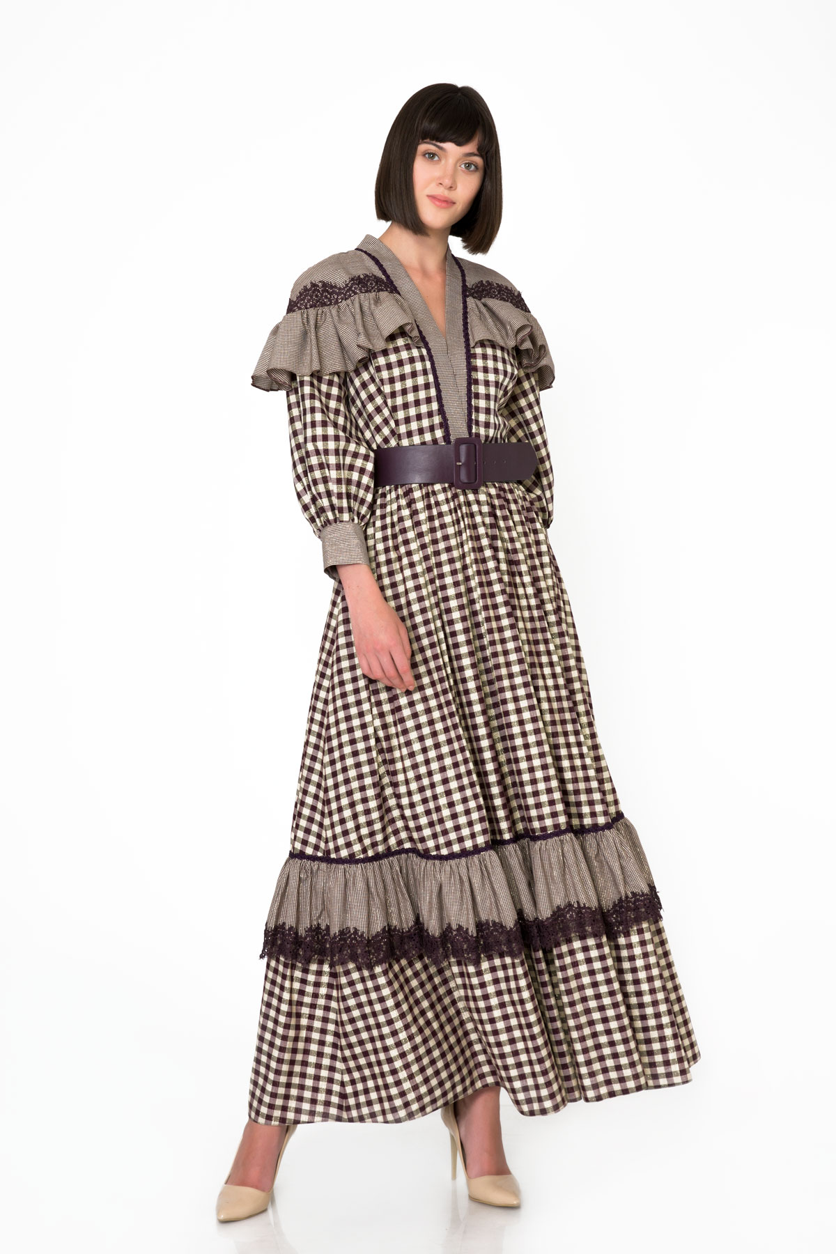 Lace And Ruffle Detailed Plaid Patterned Long Dress