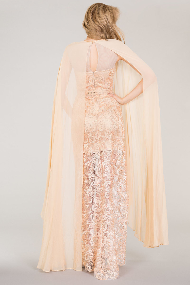 Lace Dress With Belt and Tulle Detail