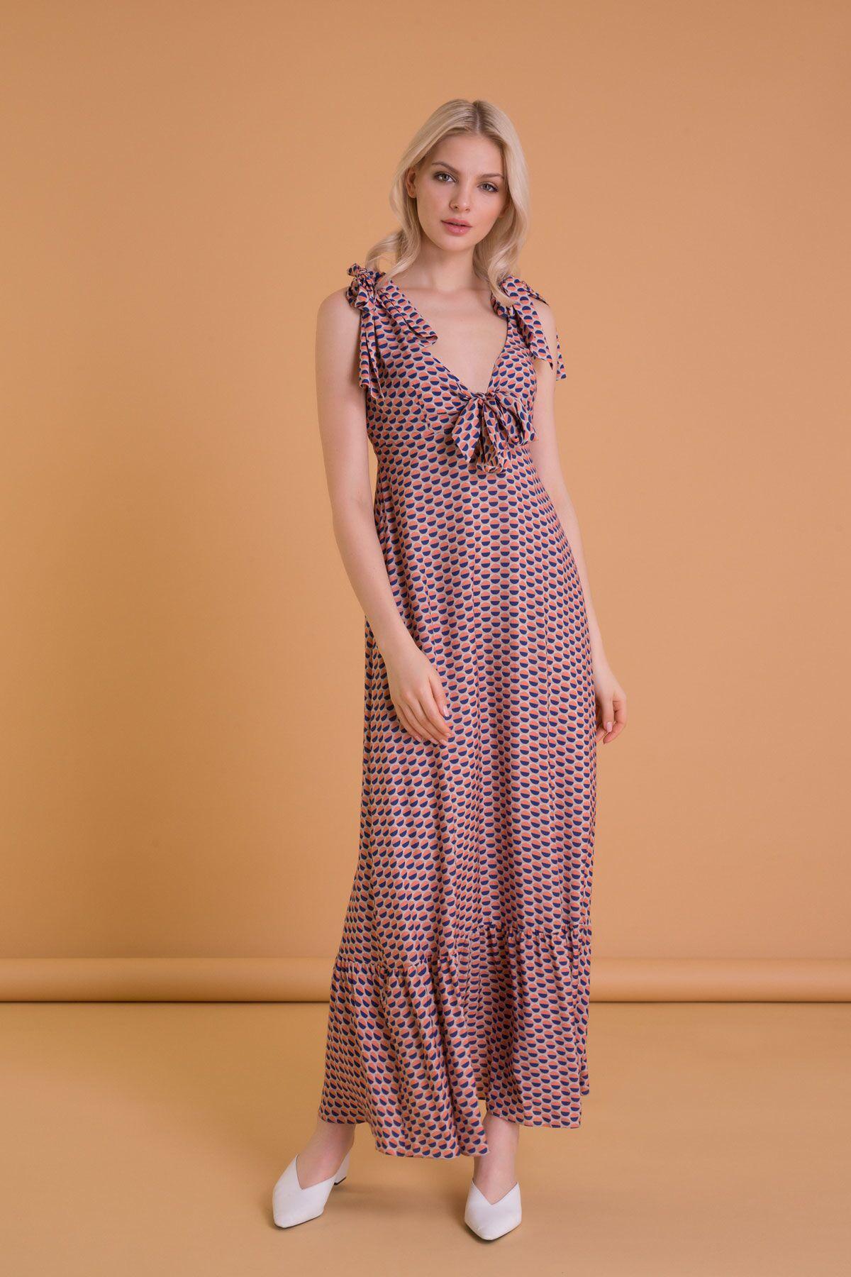 Laced Long Orange Dress