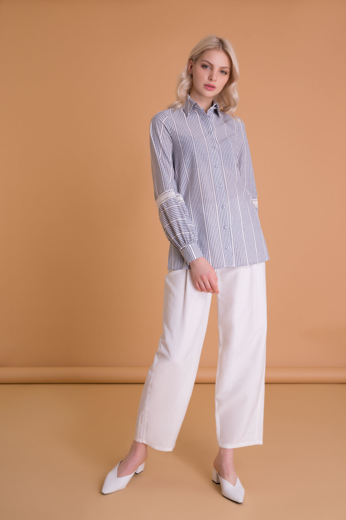 Lace Detailed Striped Balloon Sleeve Shirt