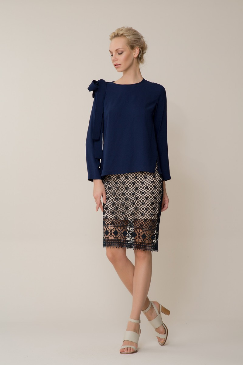 GIZIA CASUAL - Lacivert Bluz