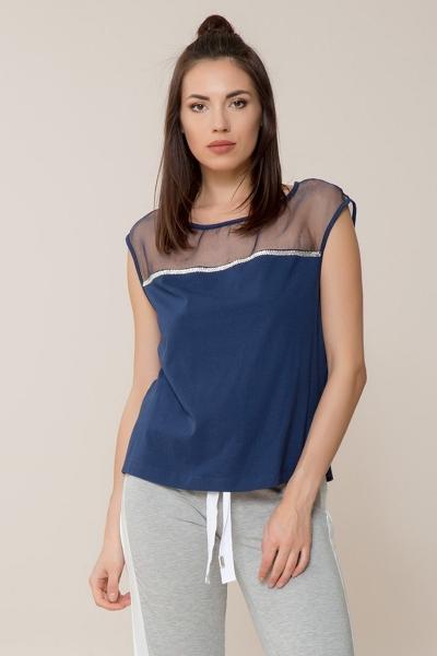 GIZIA - Lacivert Spor Bluz