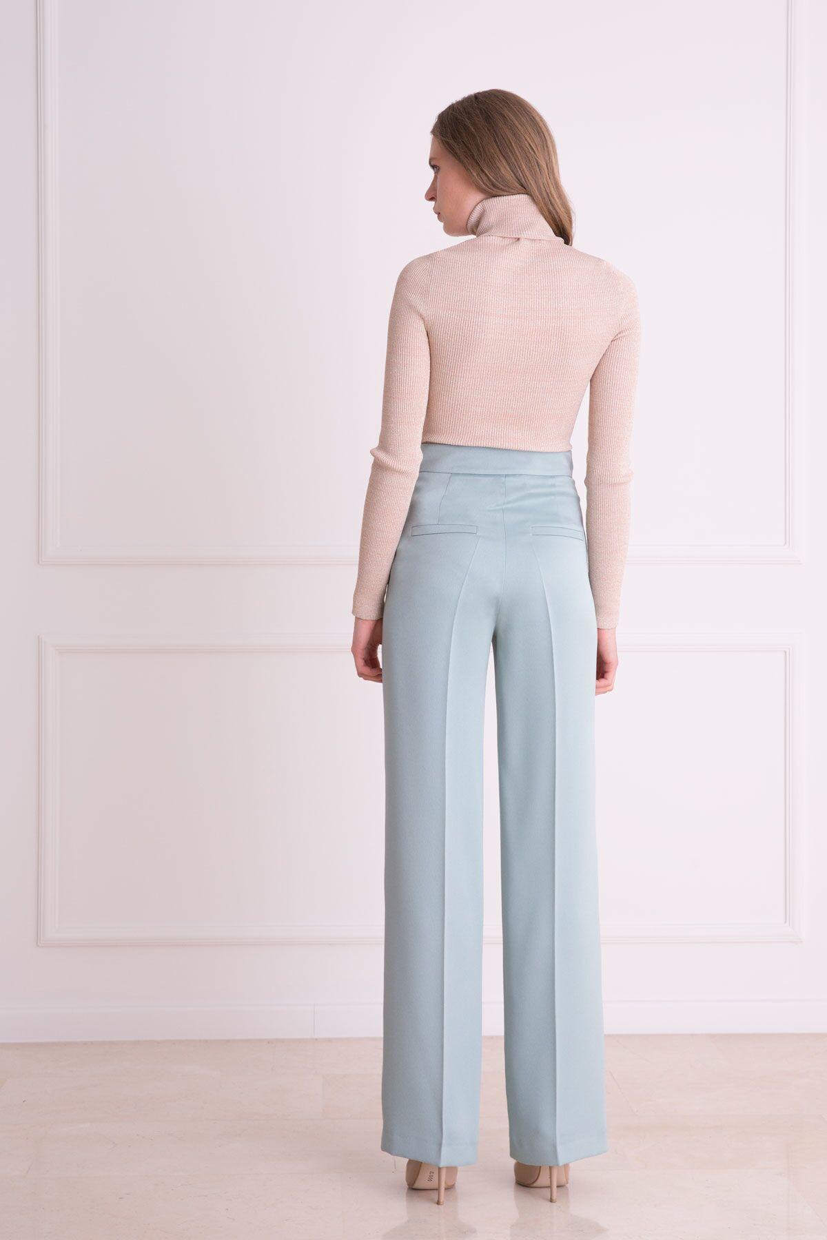 Yüksek Bel Küf Yeşili Kumaş Pantolon