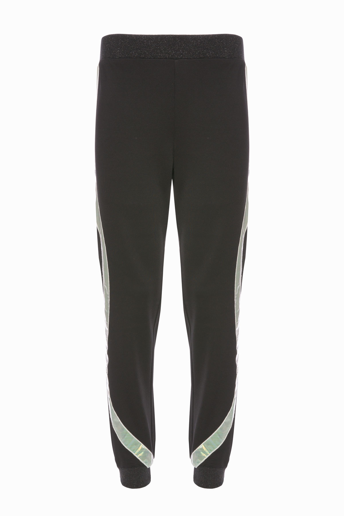 Şerit Detaylı Siyah Jogger Pantolon
