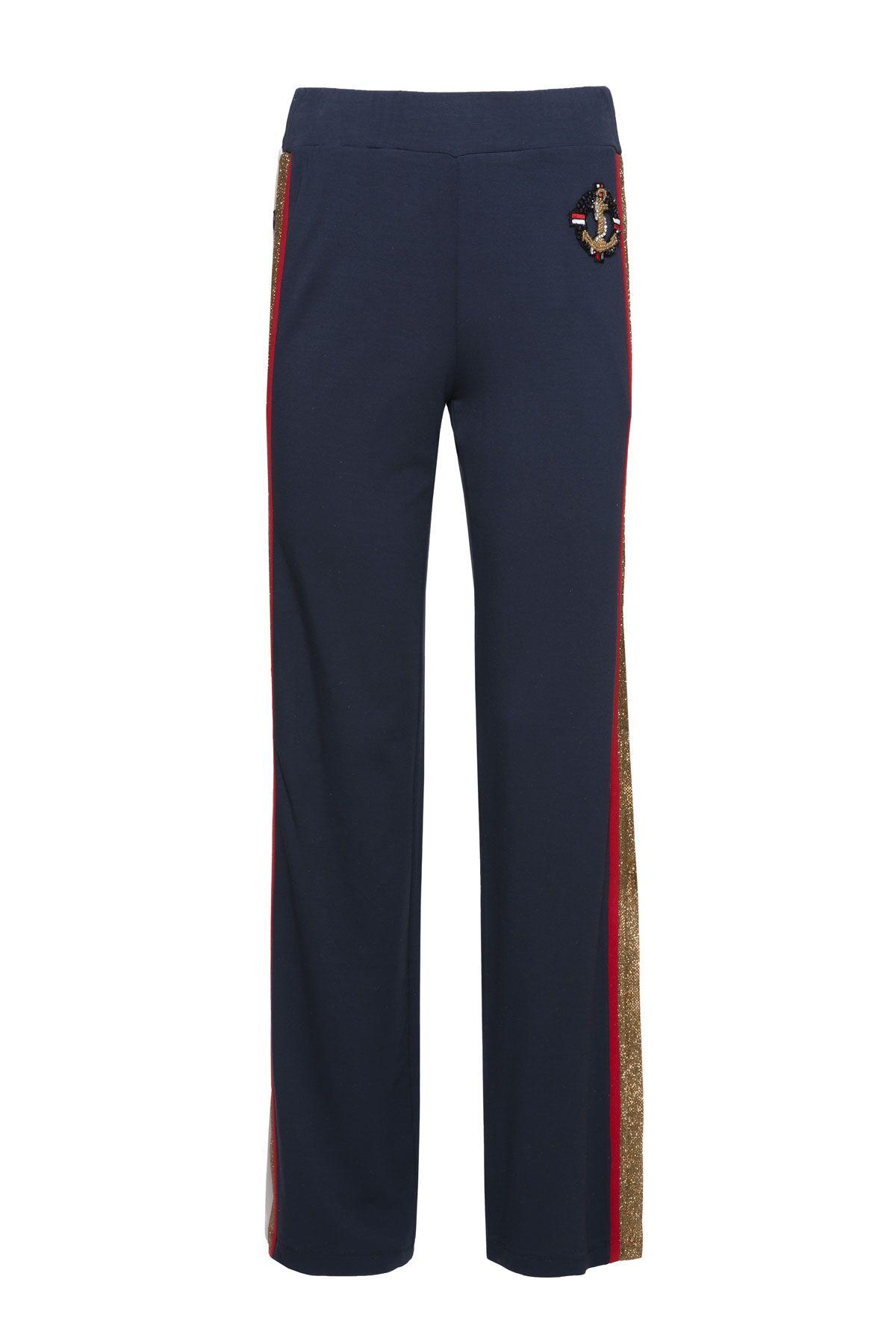 Şerit Detaylı Geniş Paça Lacivert Spor Pantolon