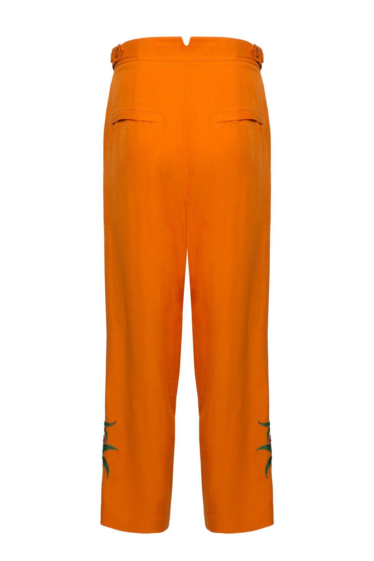 Yüksek Bel Nakış Detaylı Pilili Turuncu Pantolon