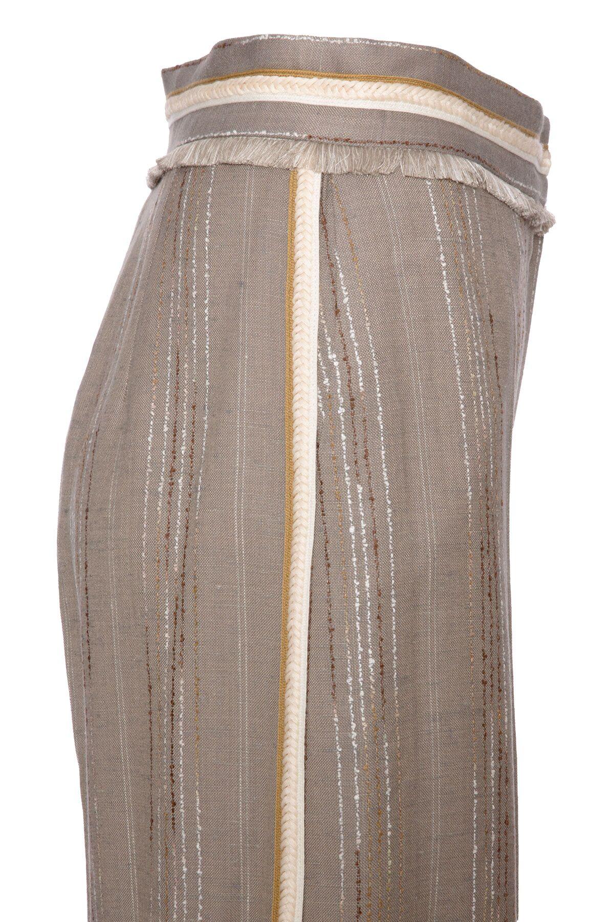 Şerit Detaylı Çizgili Geniş Paça Vizon Pantolon
