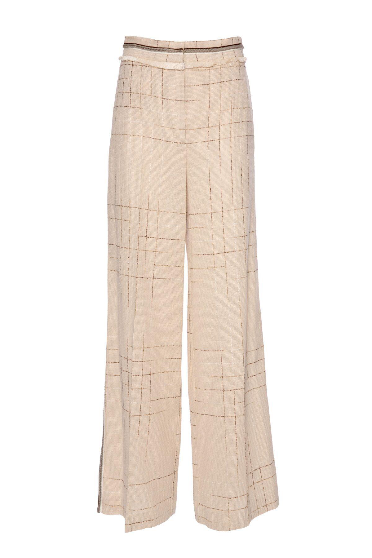 Şerit Detaylı Çizgili Geniş Paça Bej Pantolon