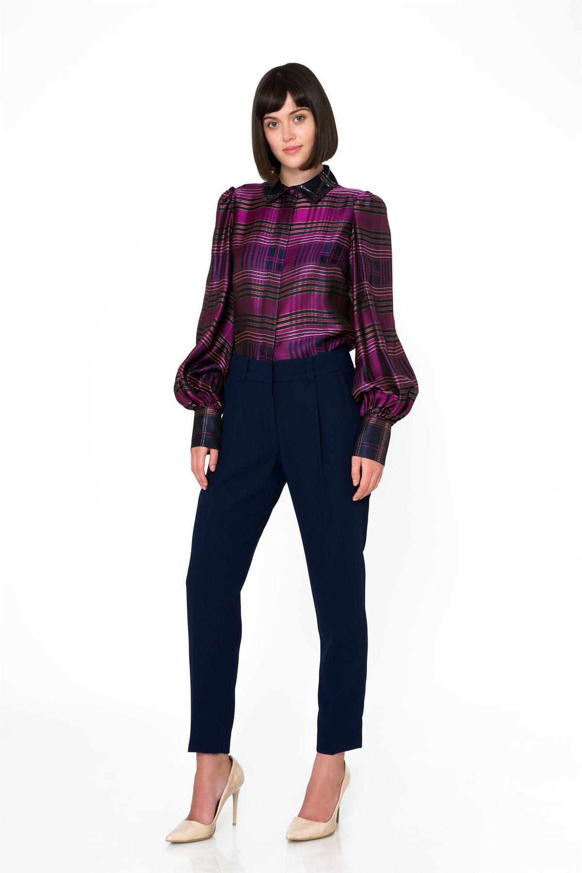 Pilili Havuç Kesim Lacivert Basic Pantolon