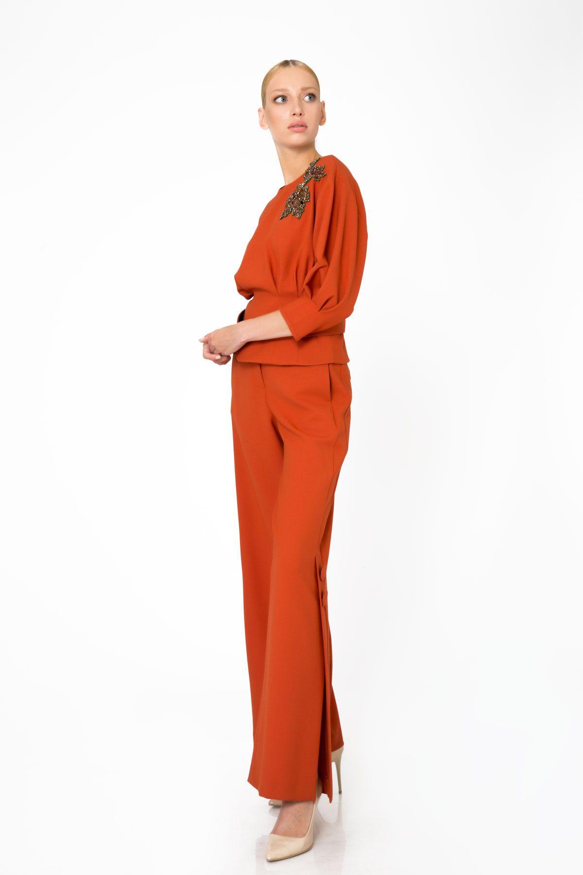 Yırtmaçlı Geniş Paça Turuncu Pantolon