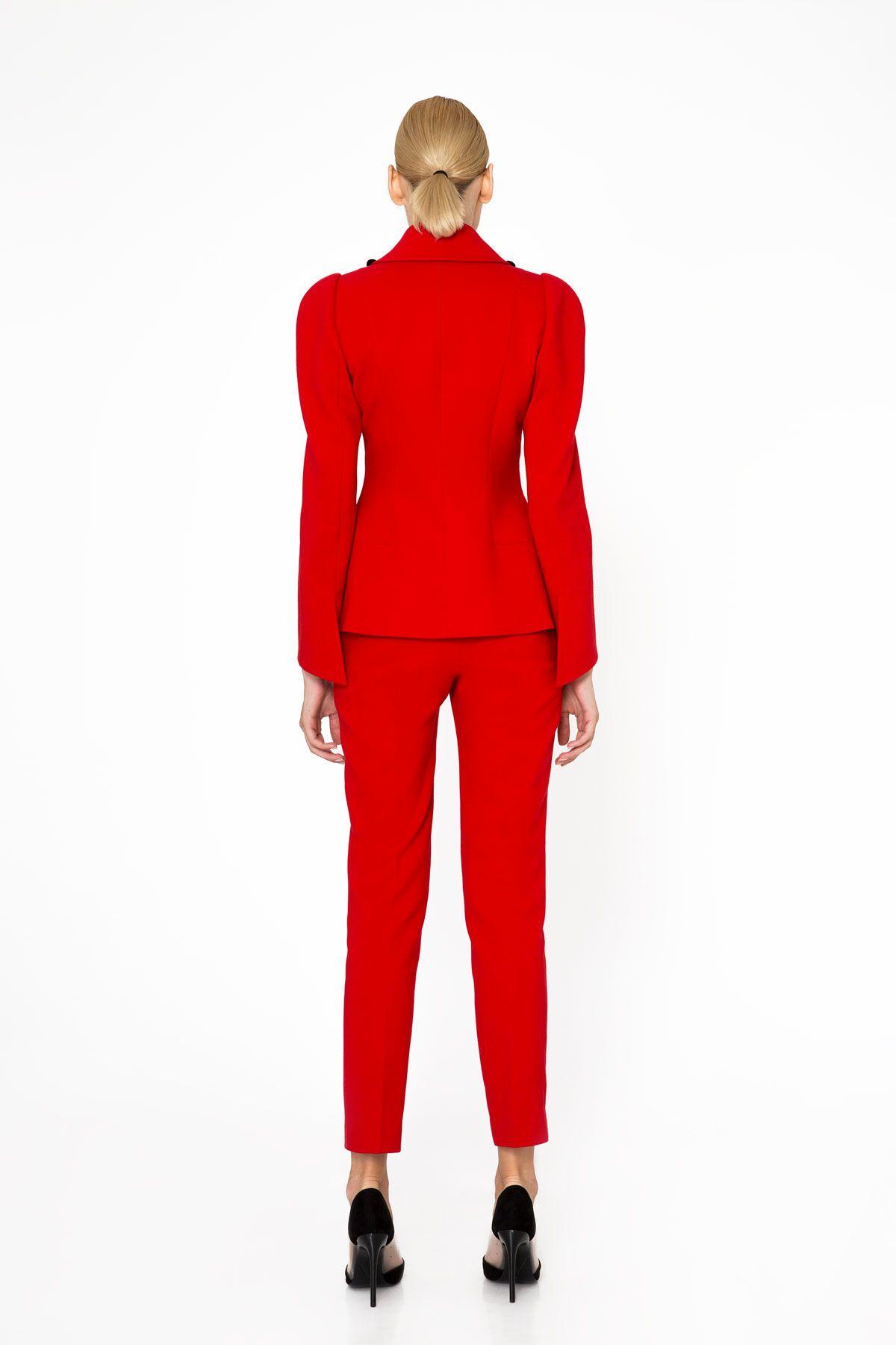 Dar Kesim Kırmızı Basic Pantolon