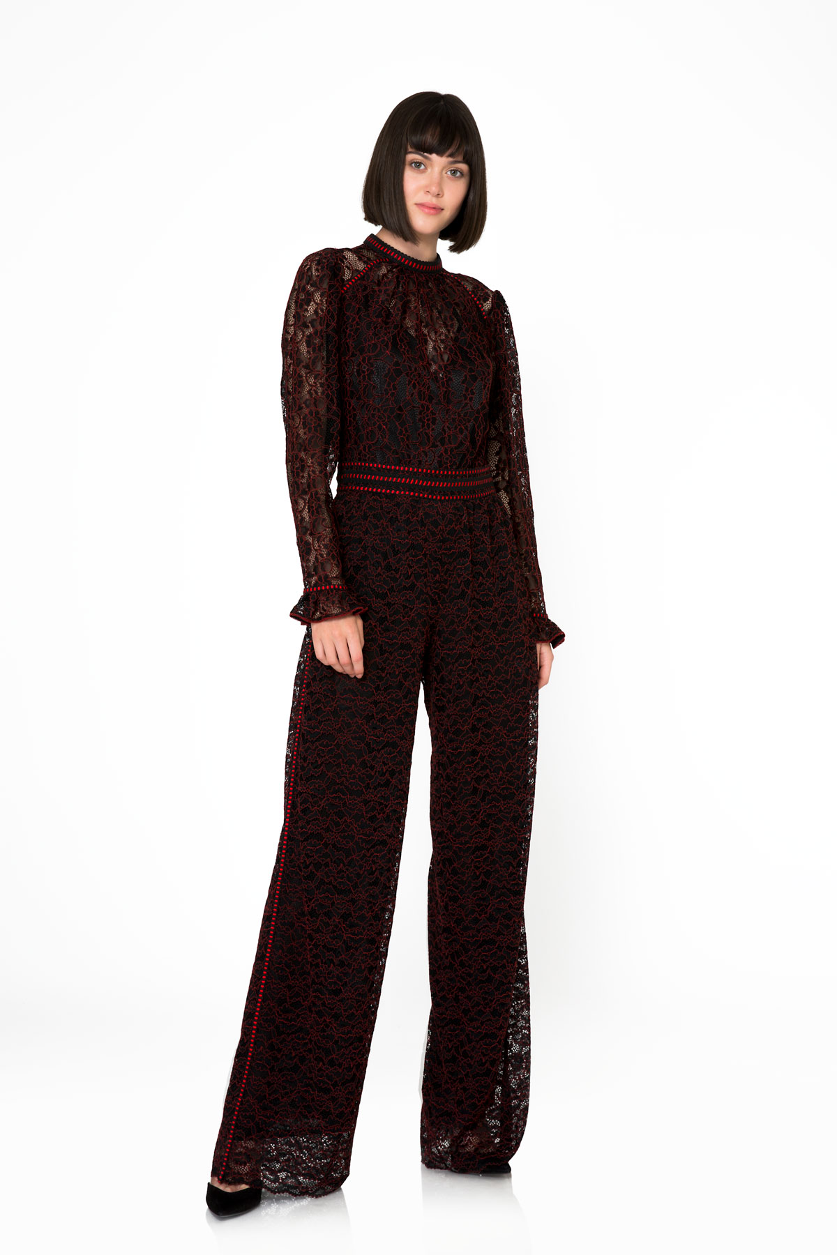 Kırmızı Şerit ve Tül Detaylı Siyah Pantolon