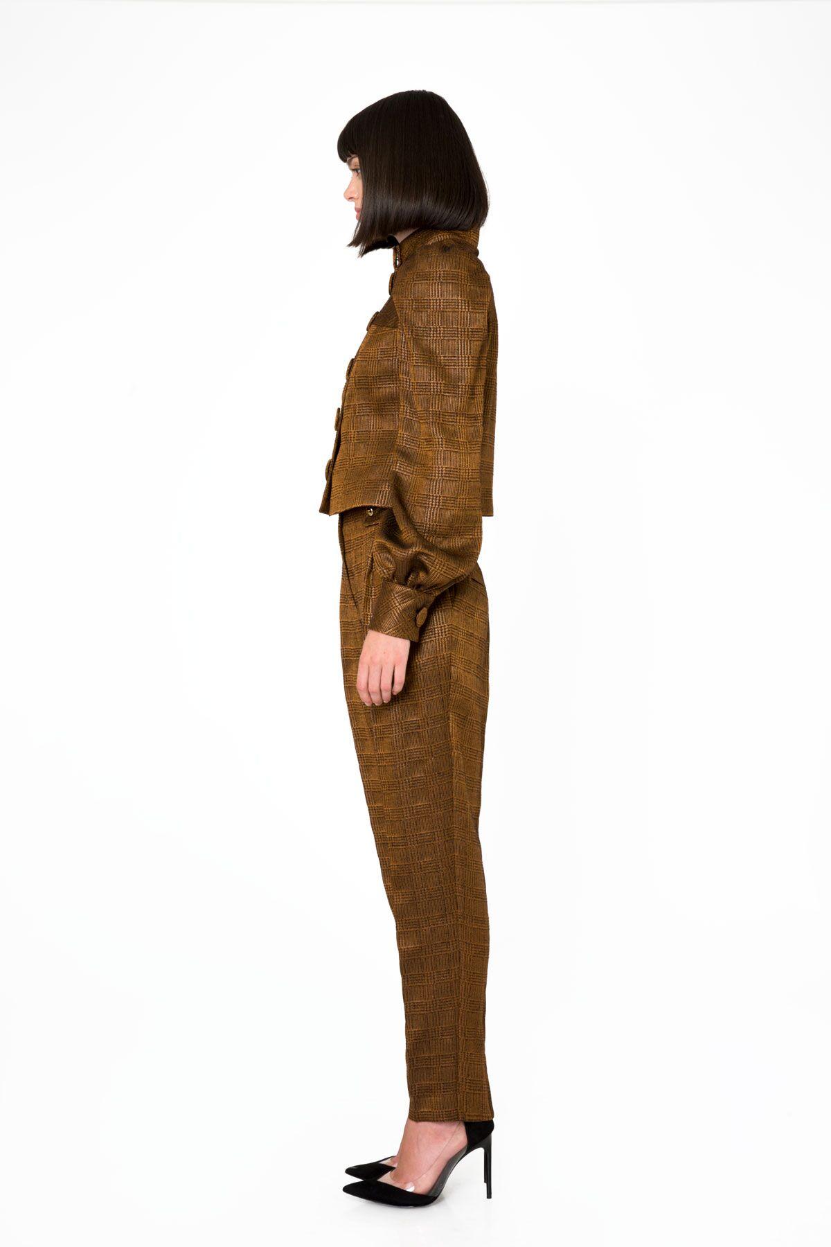 Yüksek Bel Metalik Kumaş Havuç Pantolon