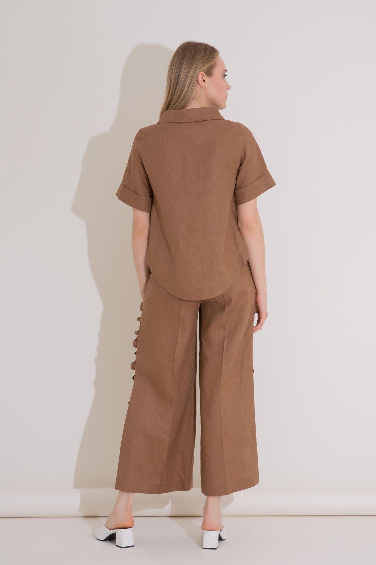 Yüksek Bel, Fırfır Detaylı Geniş Paça, Yırtmaçlı Keten Pantolon