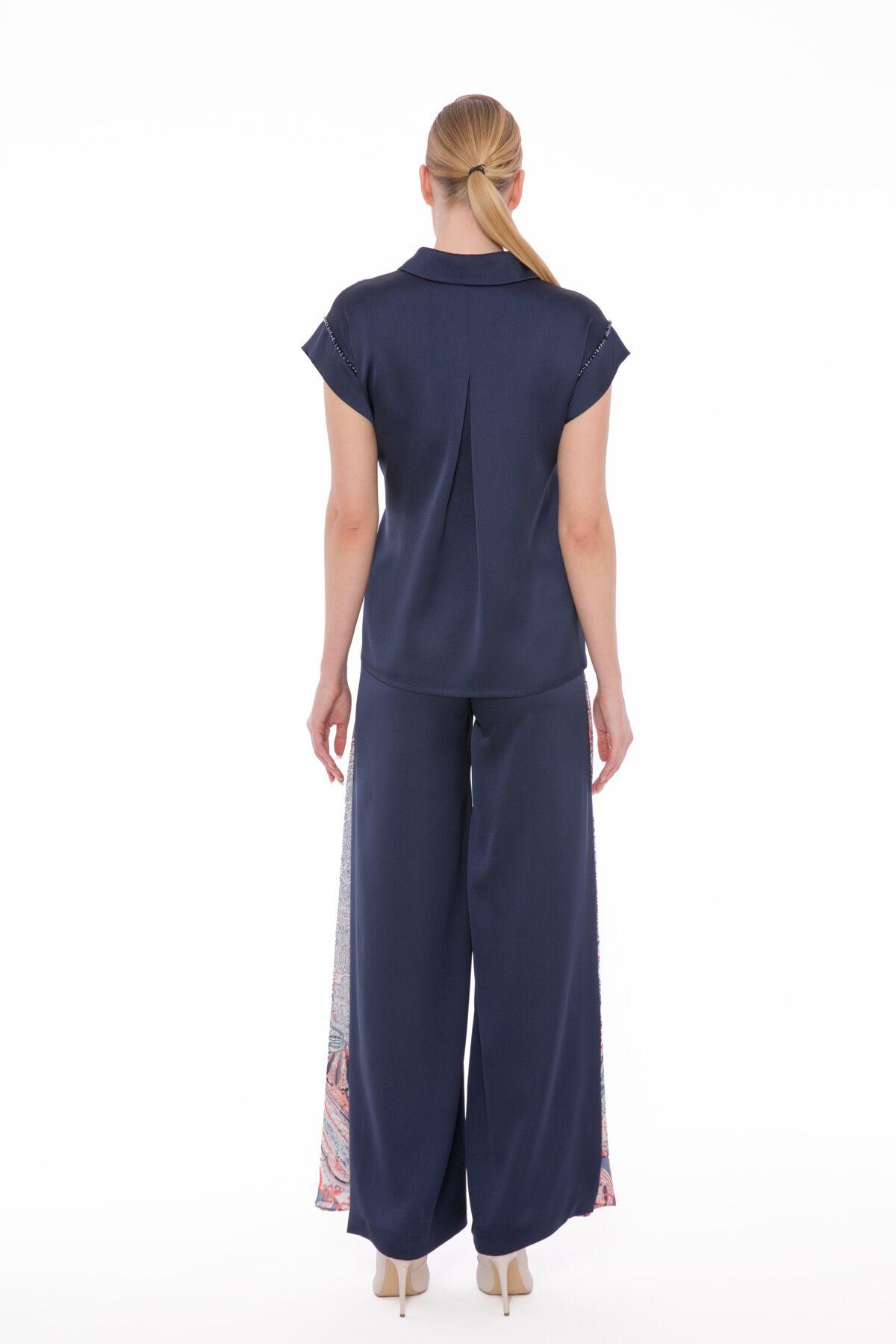 Yan Dikişi Desen Detaylı Yüksek Bel Geniş Pantolon