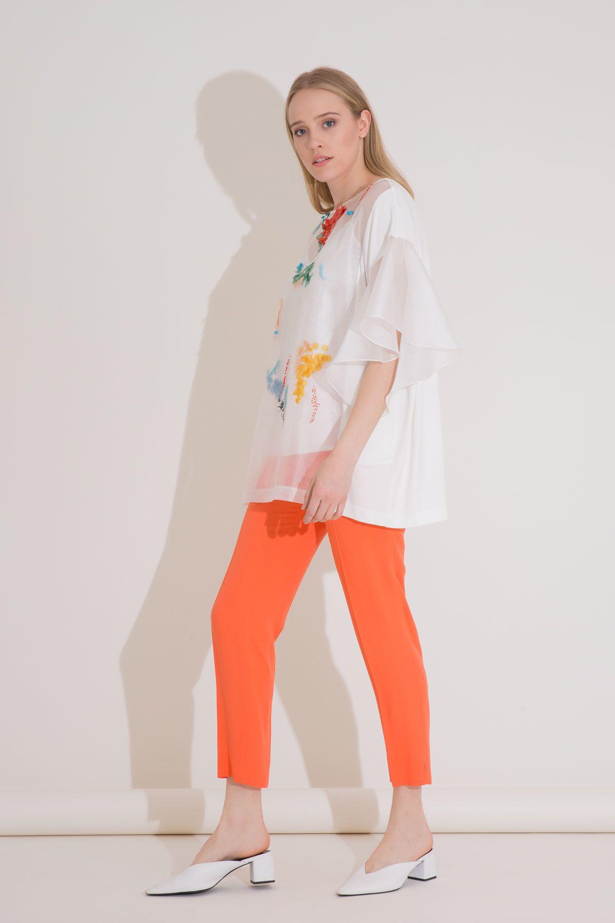 Renkli Pul Boncuk İşlemeli Organze Bluz