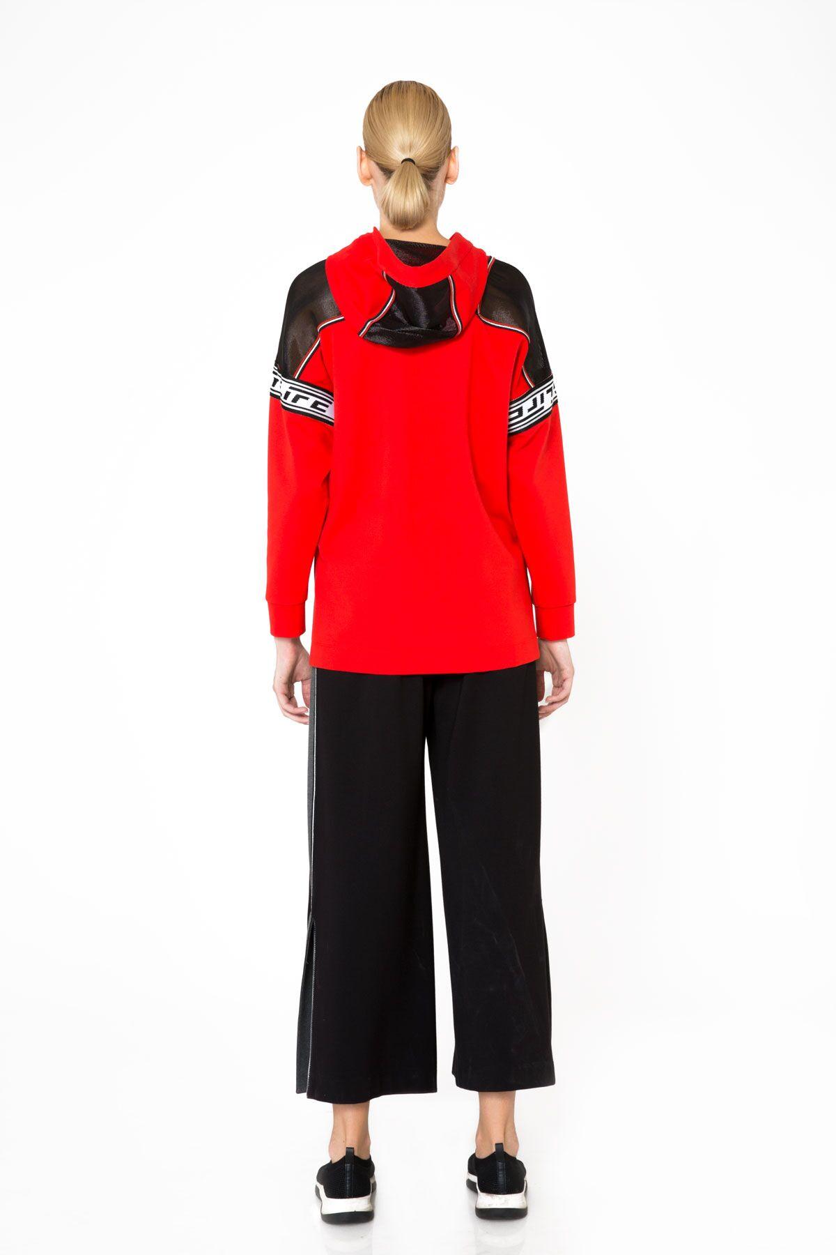 Transparan Omuz Detaylı Kapüşonlu Kırmızı Sweatshirt
