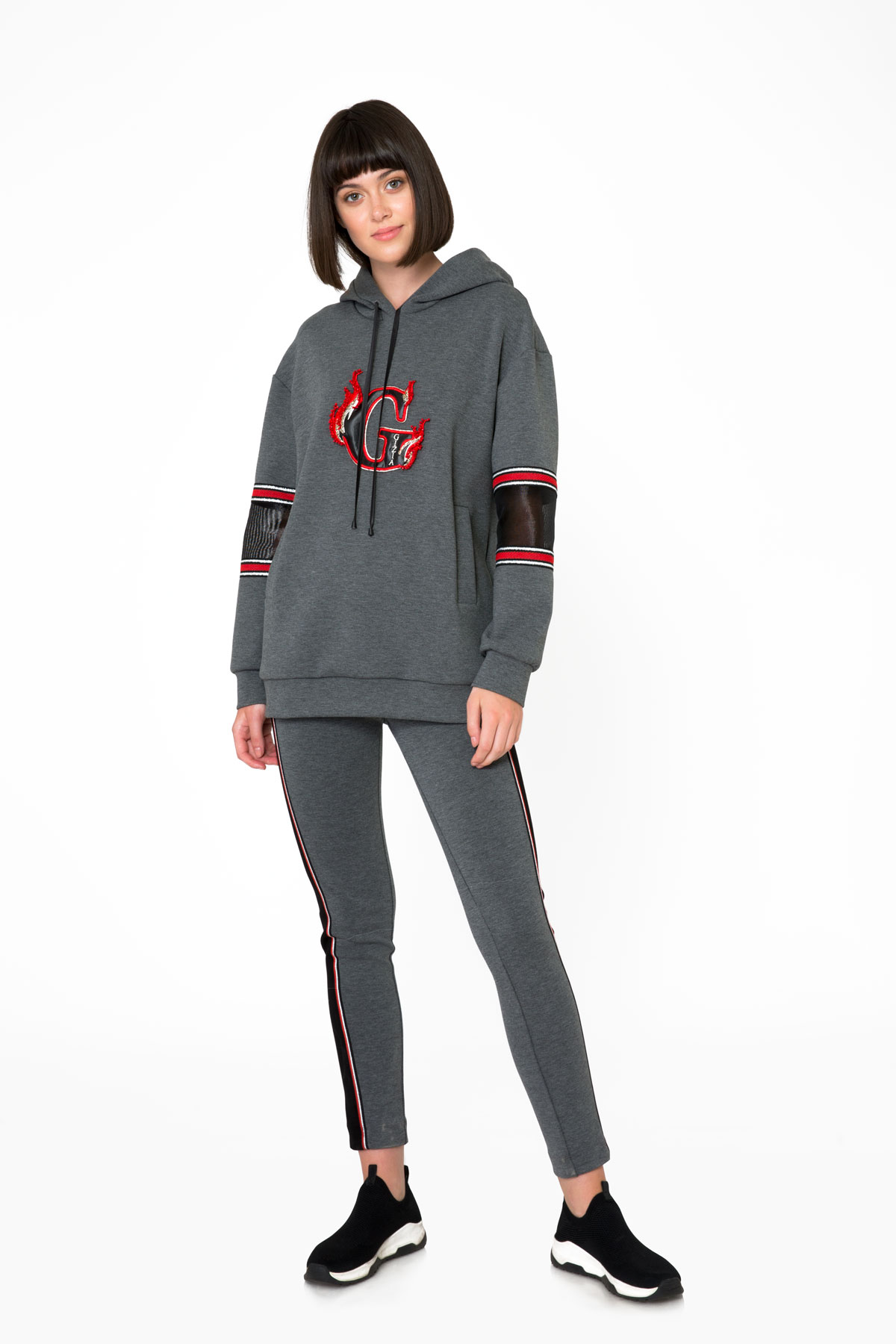 Transparan Kol Detaylı Gri Kapüşonlu Sweatshirt