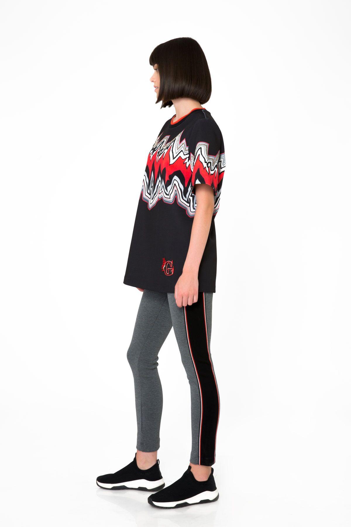 Baskılı Dalgıç Kumaş Siyah T-Shirt
