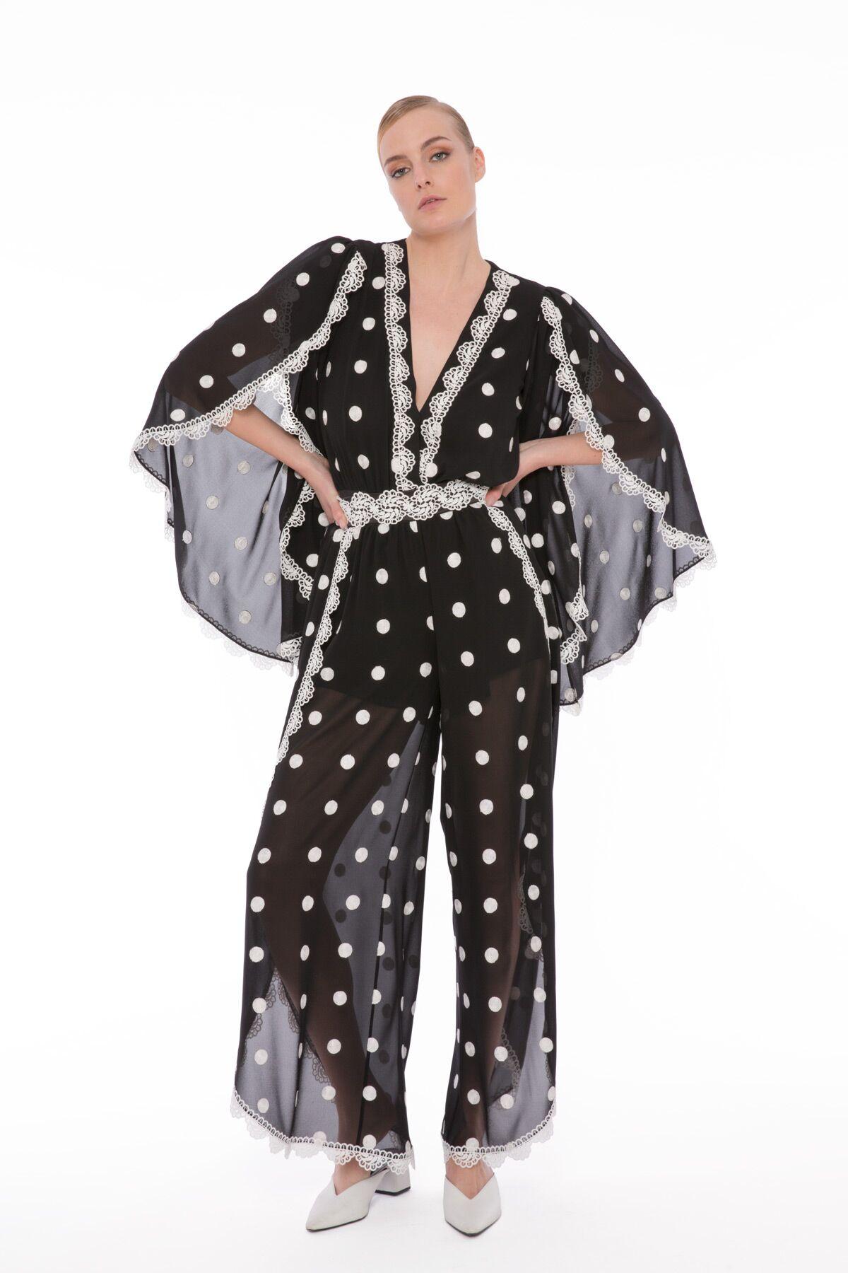 Şerit Dantelli Puanlı Body Bluz