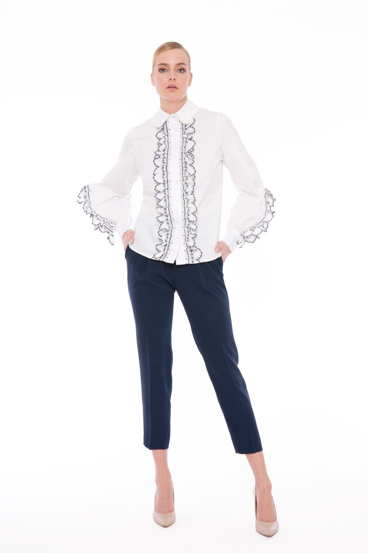 Volan Ve Şerit Detaylı Mendil Etek Uçlu Gömlek