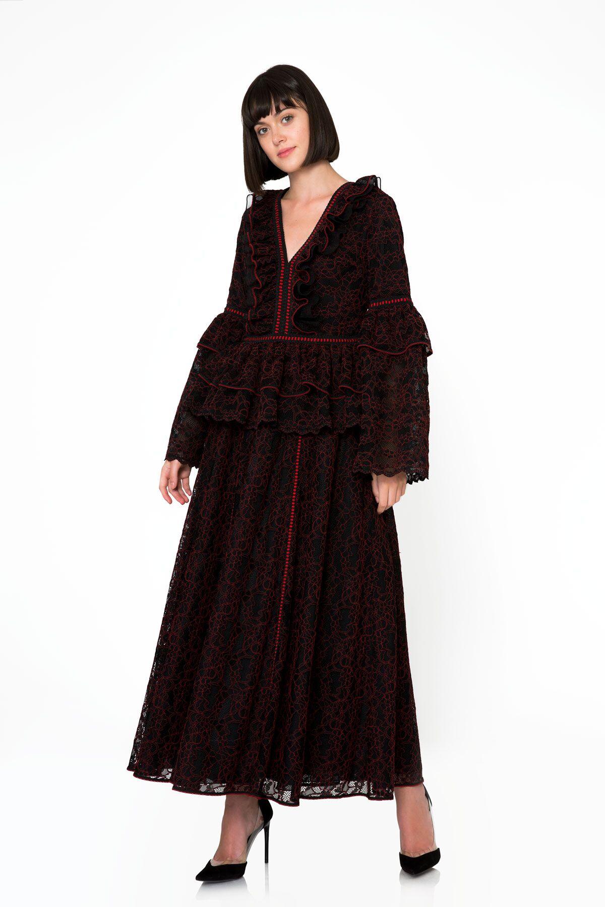 Şerit ve Fırfır Detaylı Siyah Uzun Dantel Etek