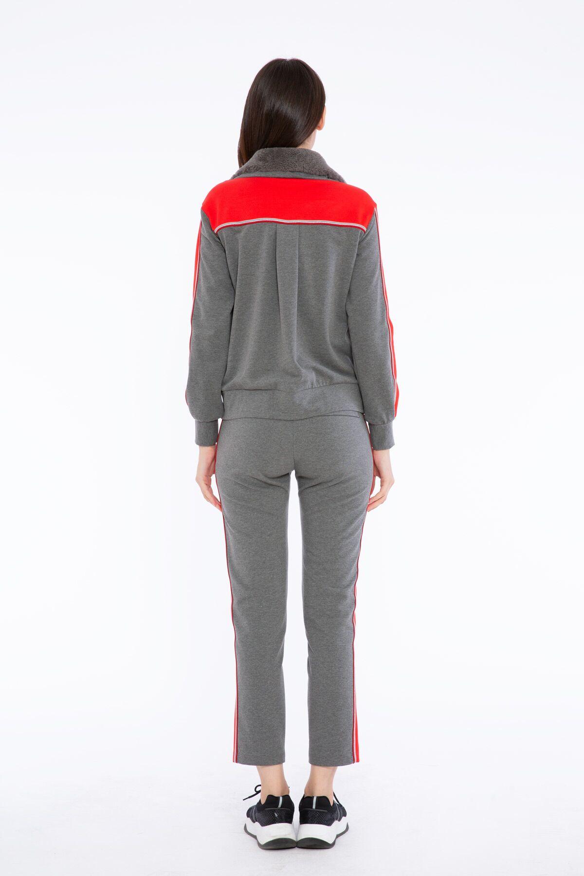 Camel Kırmızı Garnili Kuplu Önü Fermuarlı Sweatshirt