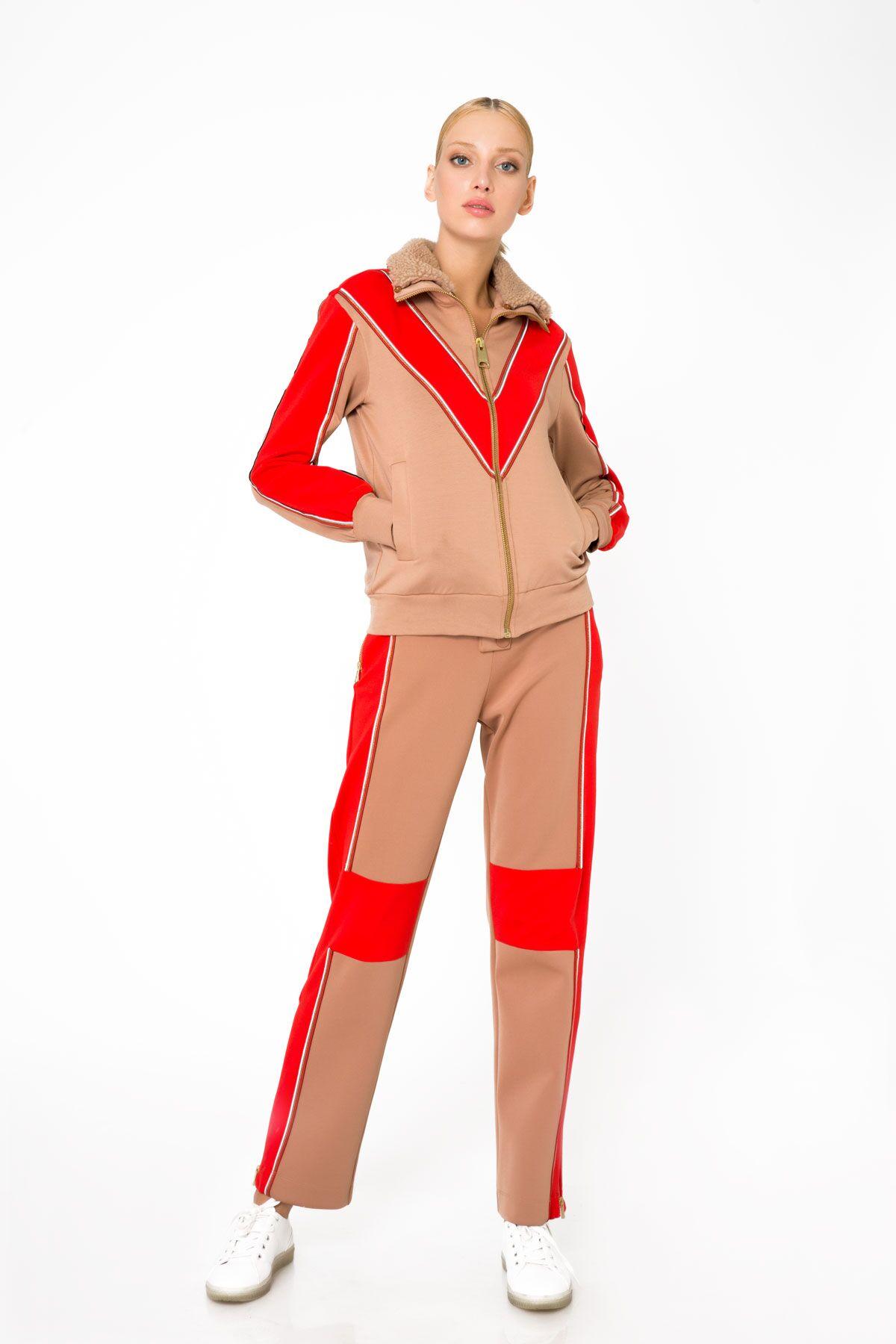 Kırmızı Şerit Detaylı Fermuarlı Sweatshirt