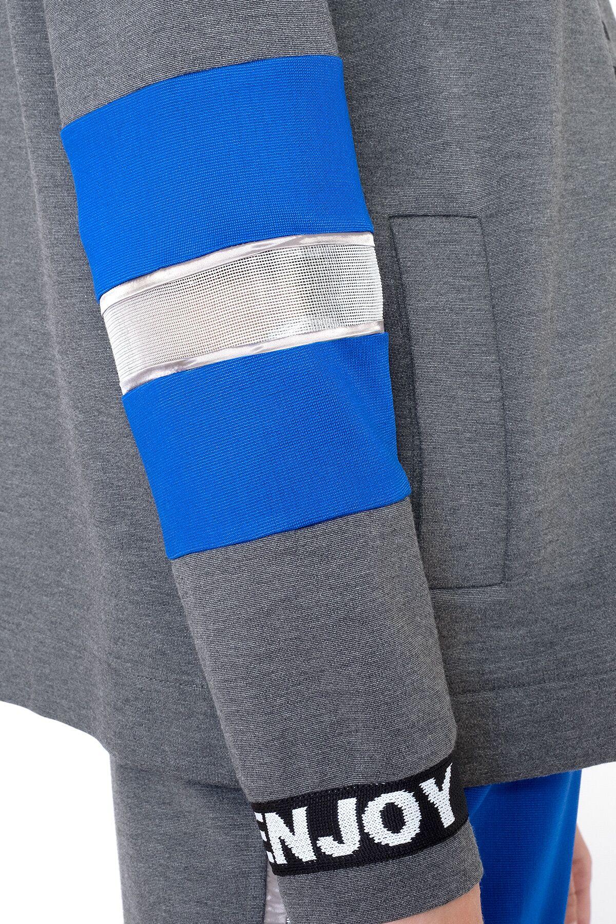 Şerit Detaylı Kapüşonlu Gri Fermuarlı Sweatshirt
