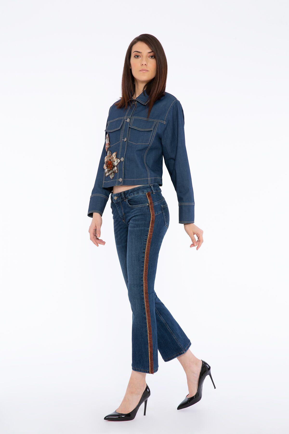 Renkli Kürk Yaka Detaylı Ekoseli Nakış İşlemeli Jean Ceket