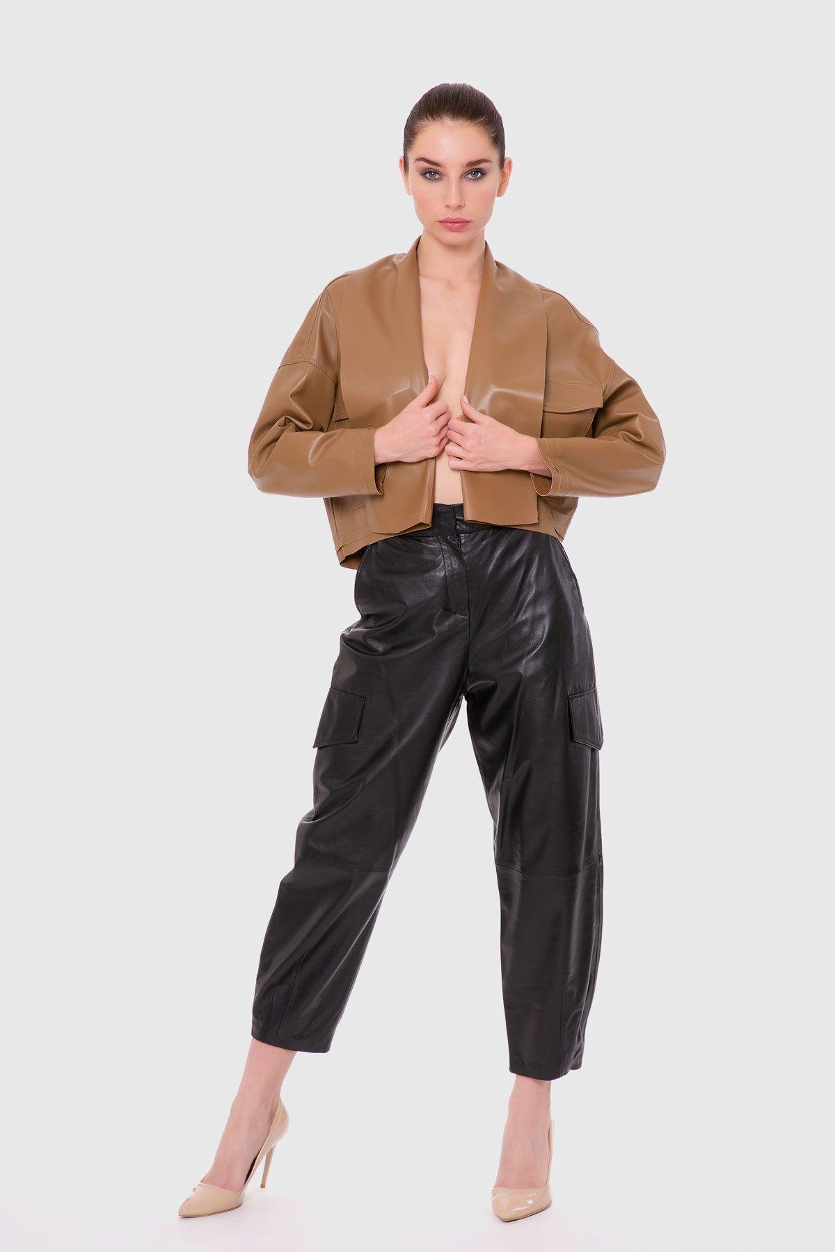 Renkli Şal Yakalı Deri Ceket