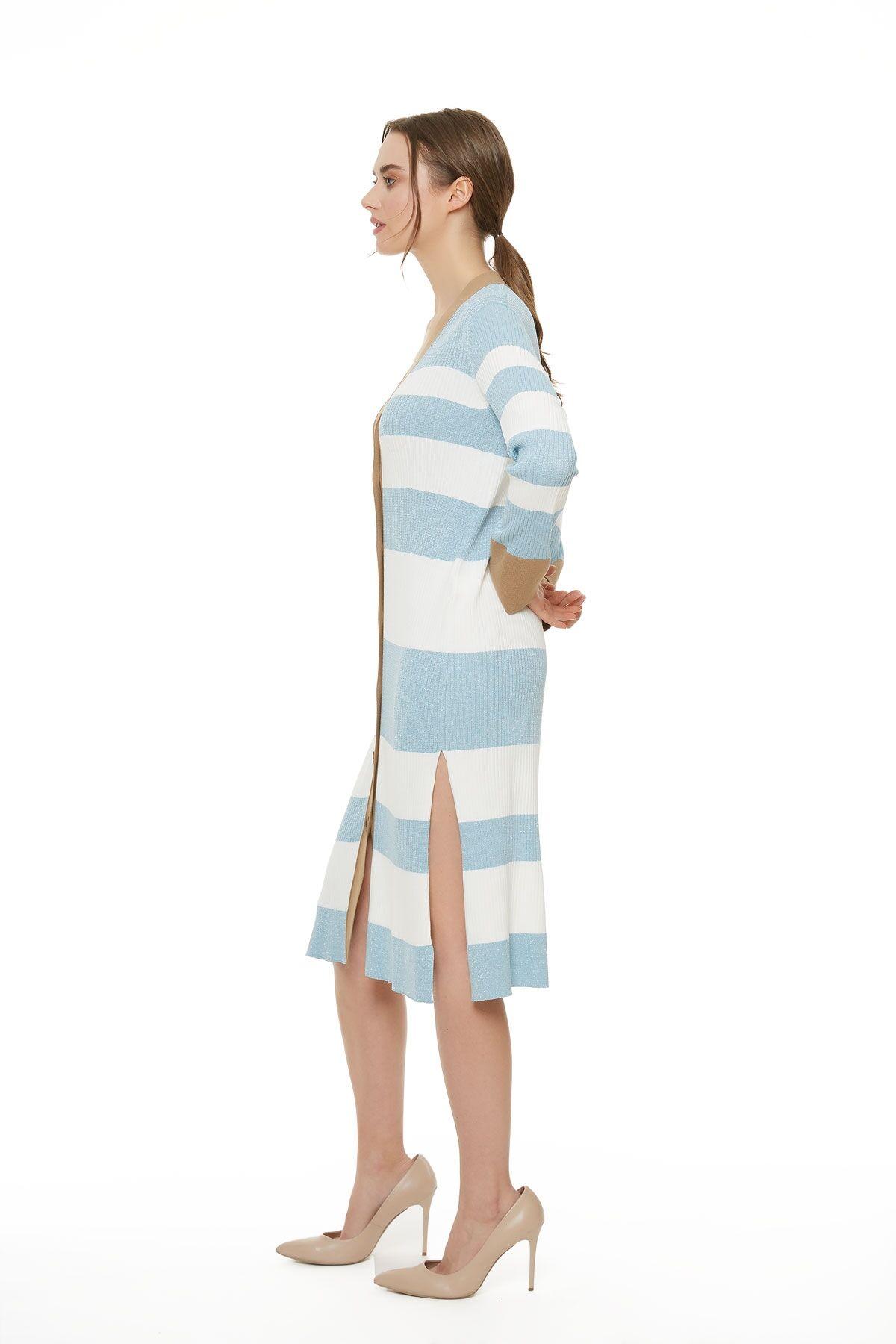 Mavi Beyaz Triko Hırka