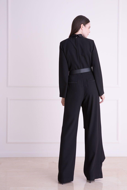 Kemer Detaylı Siyah Tulum Elbise