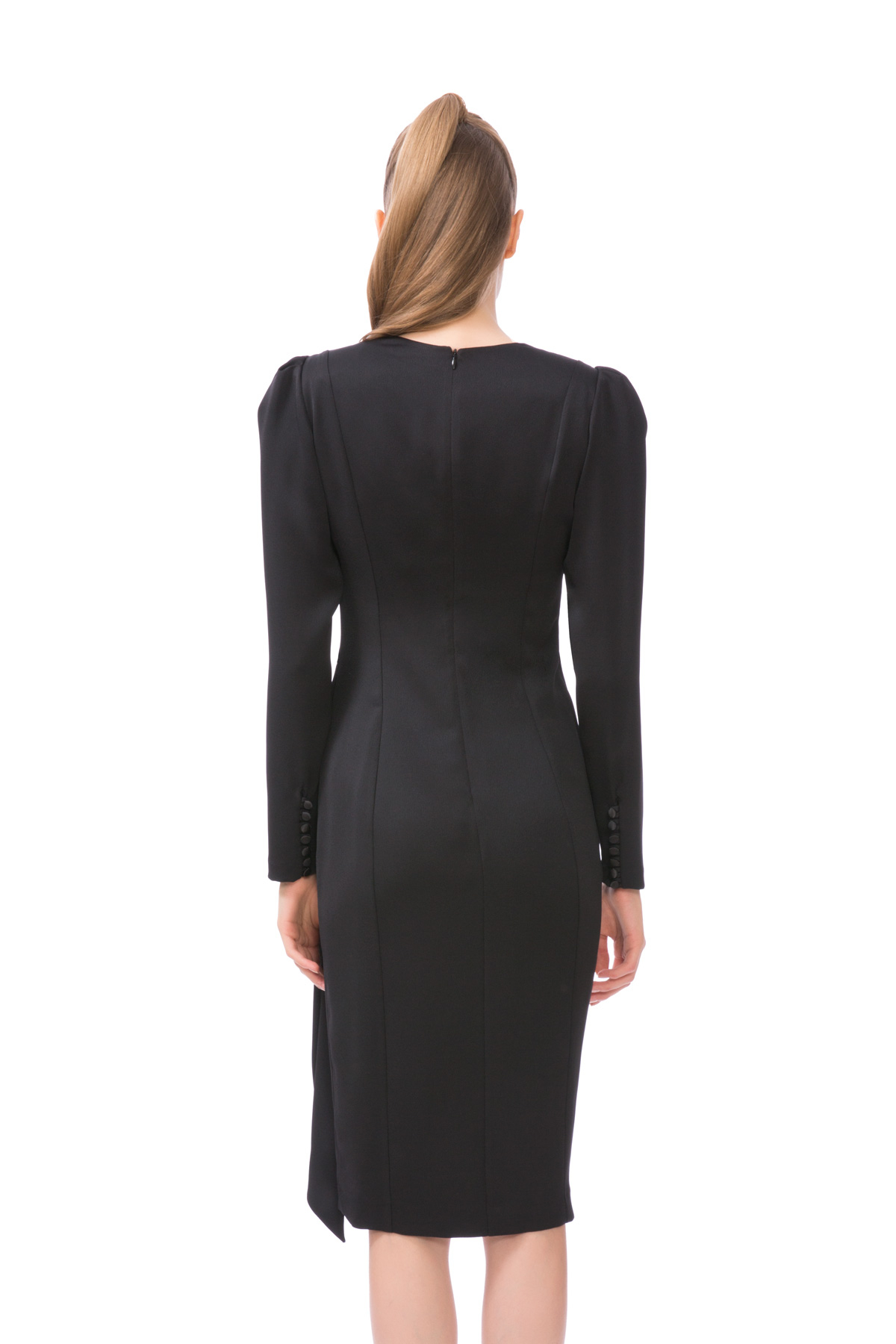 DÜğme Detaylı Karpuz Kol Siyah Midi Elbise