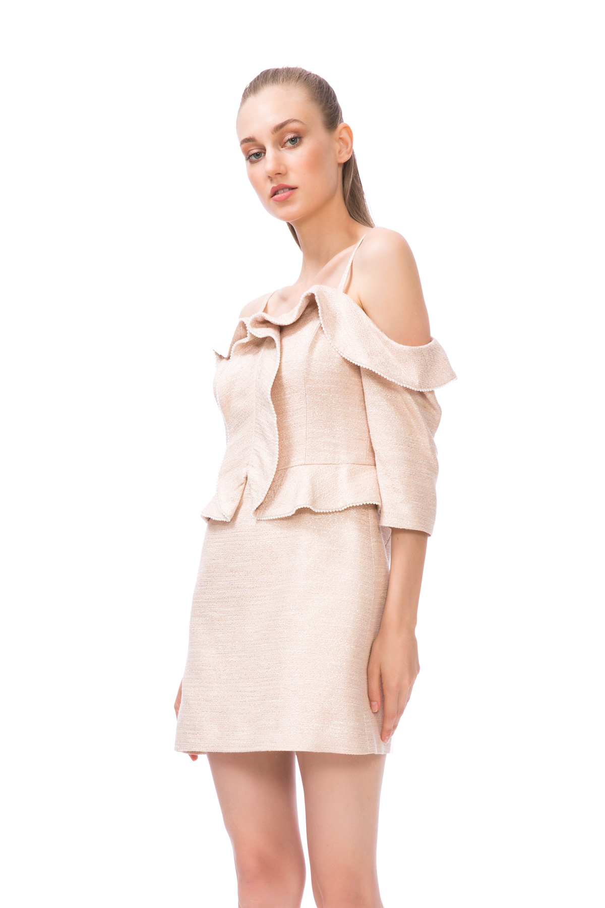 Düşük Omuzlu Mini Elbise