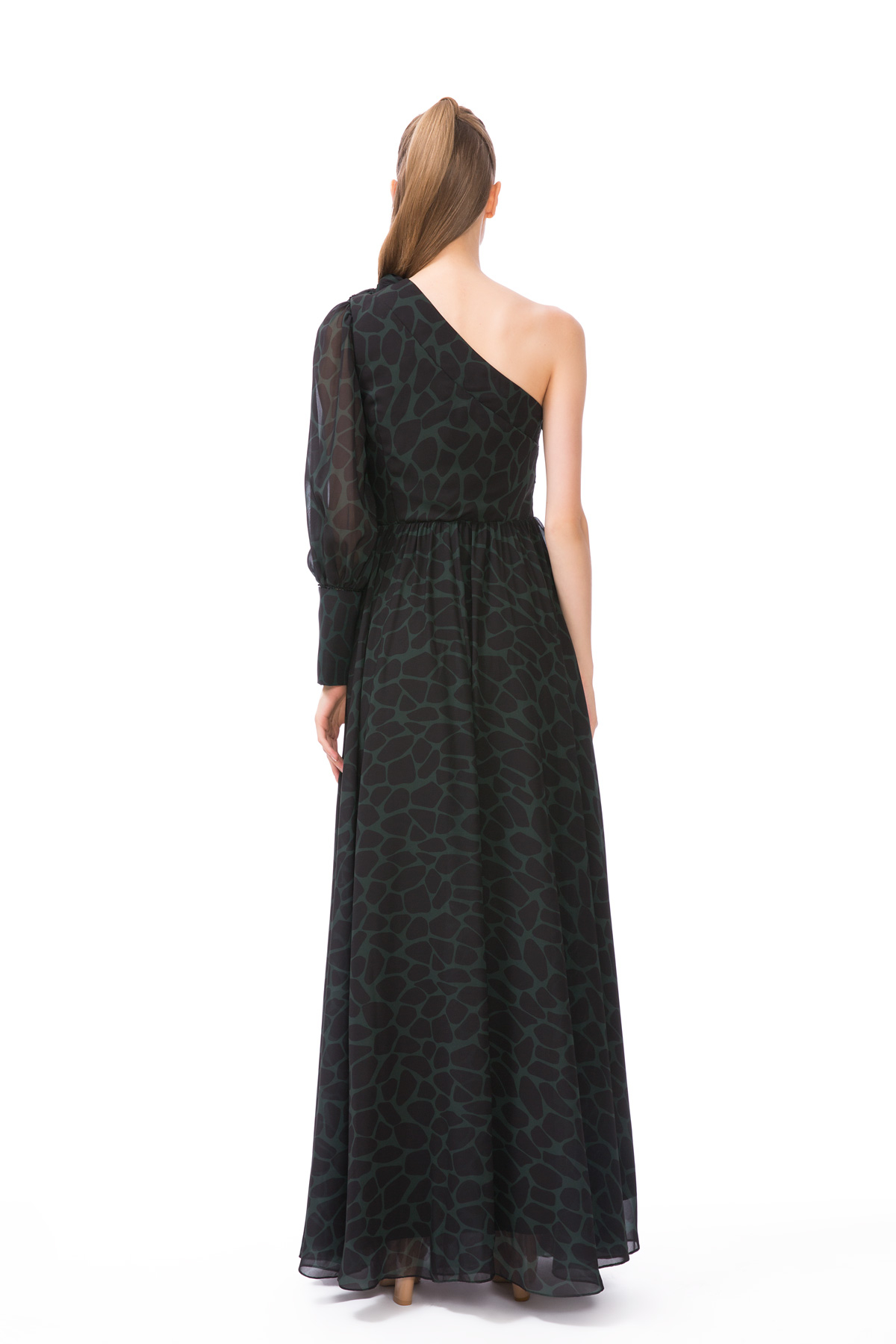 Tek Omuz Siyah Uzun Elbise