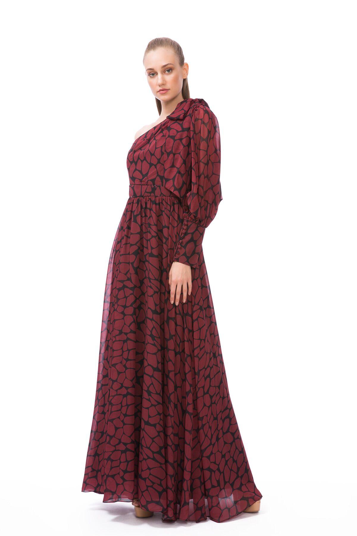 Tek Omuz Bordo Uzun Elbise