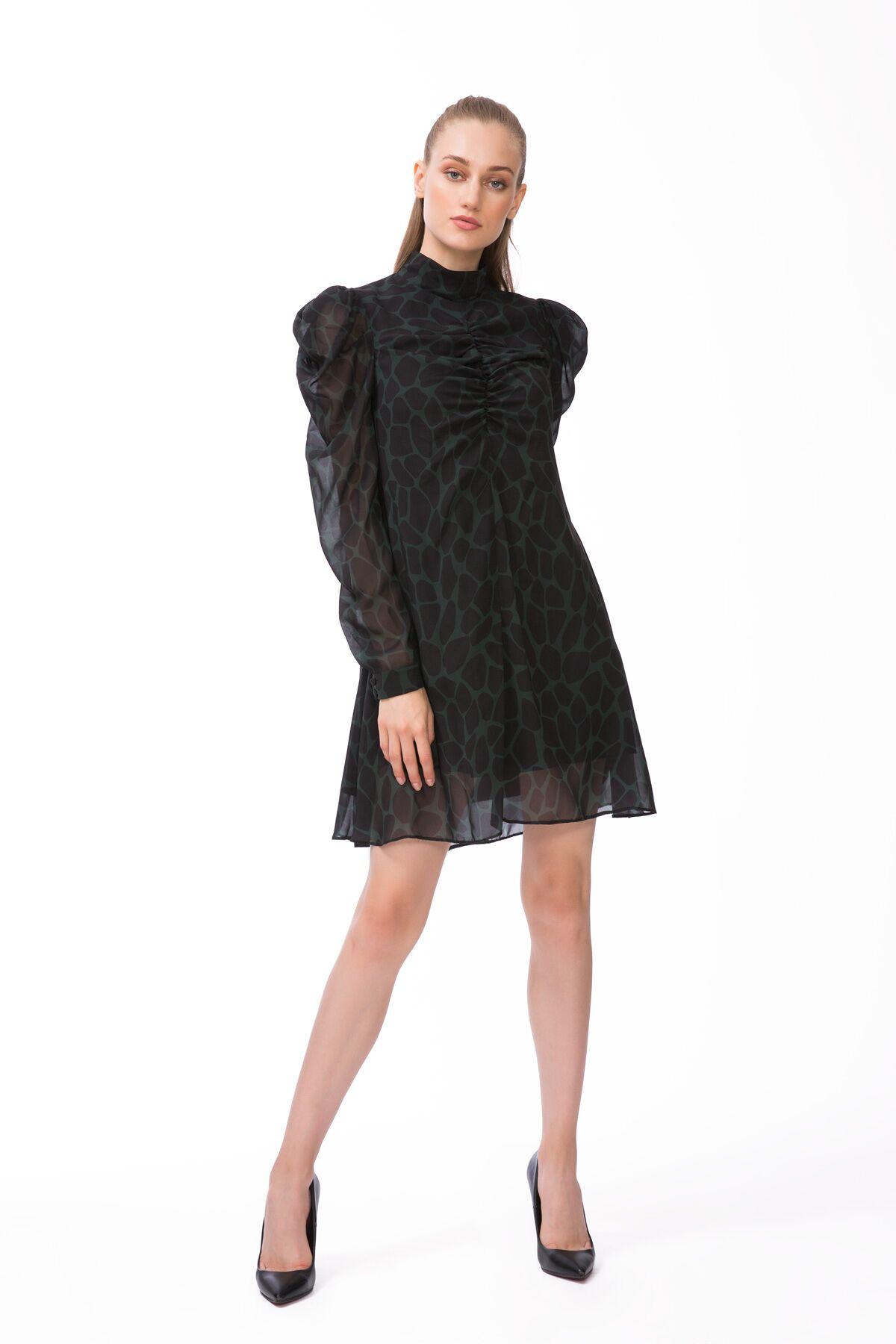 Dik Yaka Haki Mini Elbise