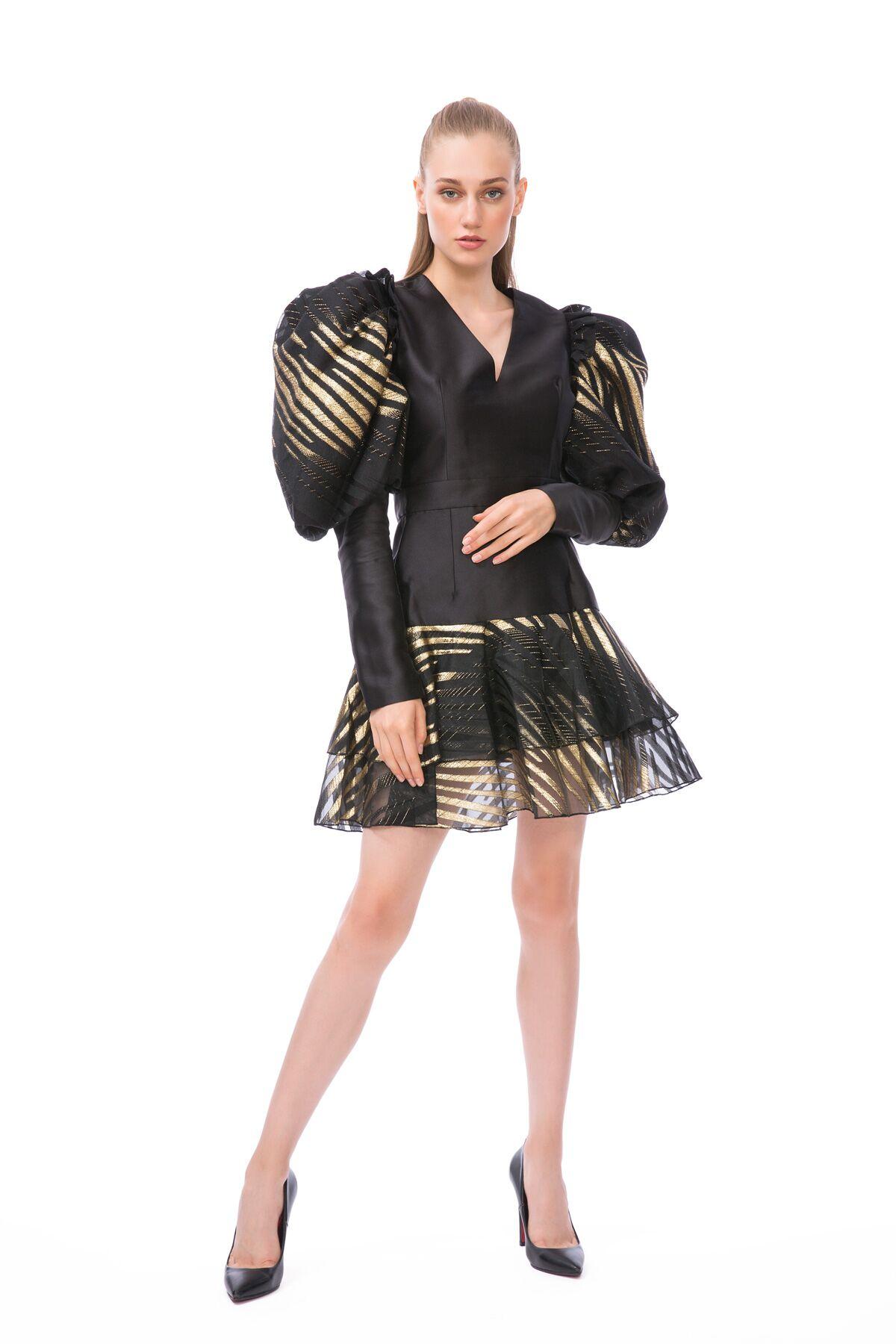 Balon Kol Yaldızlı Mini Siyah Elbise