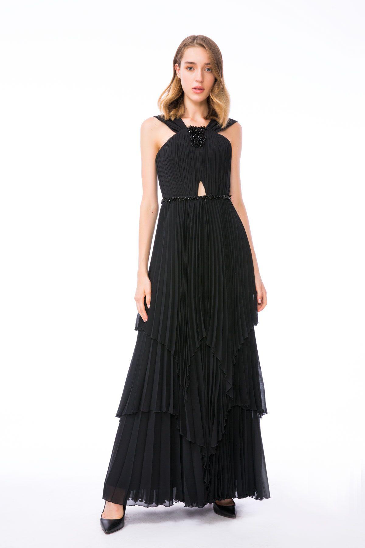 Taş İşleme Detaylı Uzun Siyah Elbise