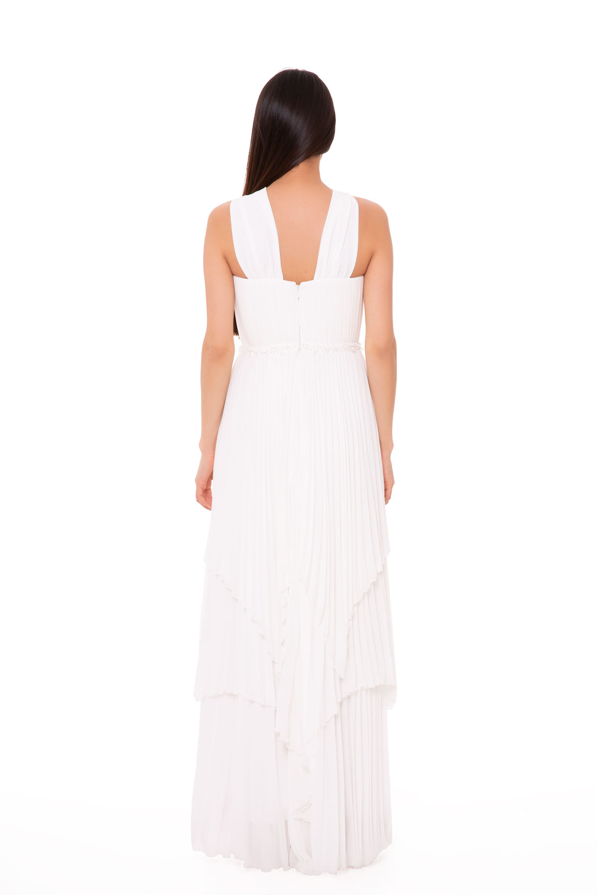 Taş İşleme Detaylı Uzun Beyaz Elbise