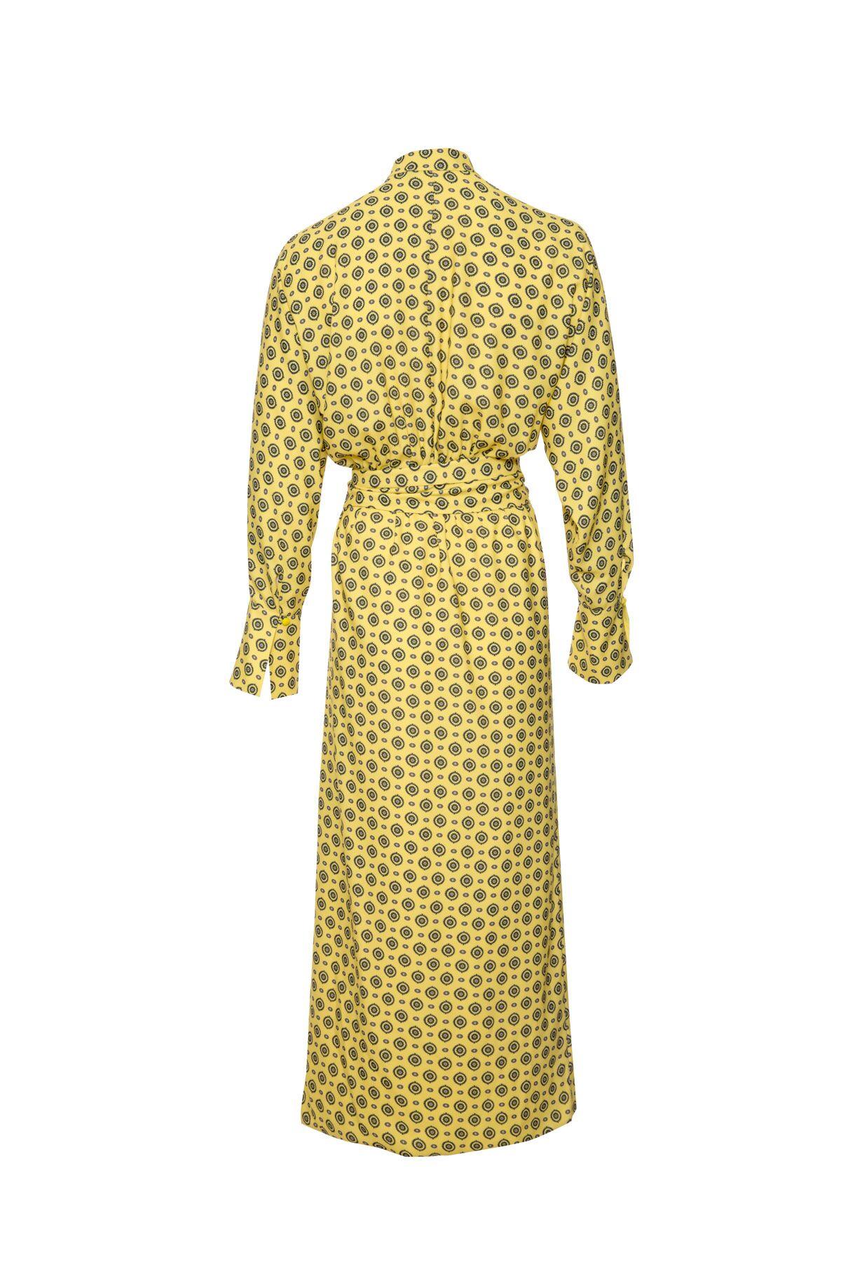 Önü Dökümlü Desenli Gömlek Elbise