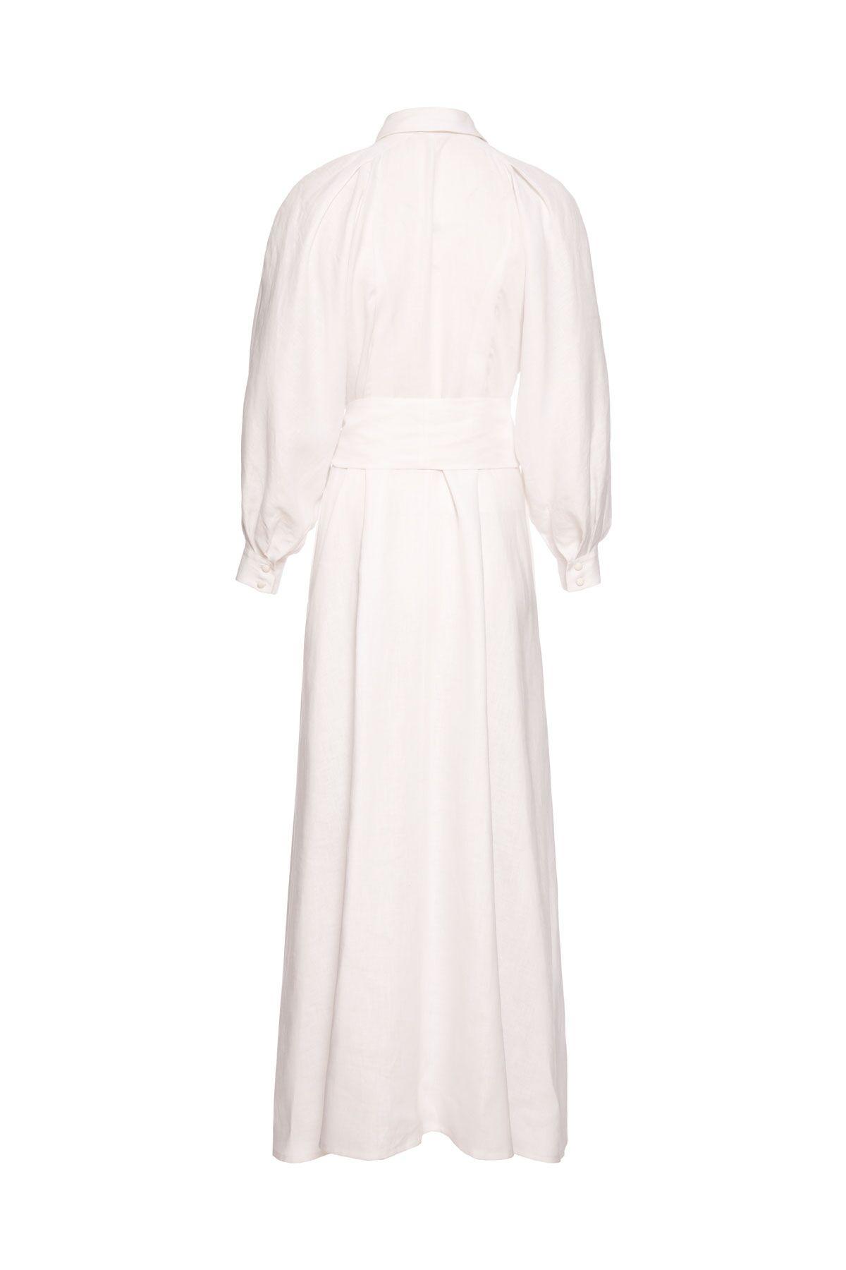 Belde Fiyonk Detaylı Uzun Gömlek Elbise