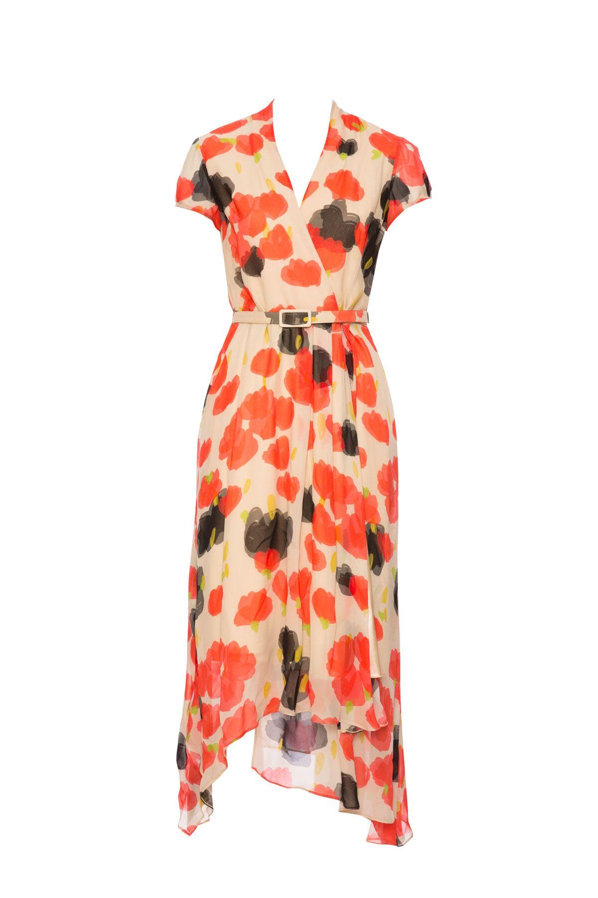 Anvelop Yaka Desenli Mendil Etek Elbise