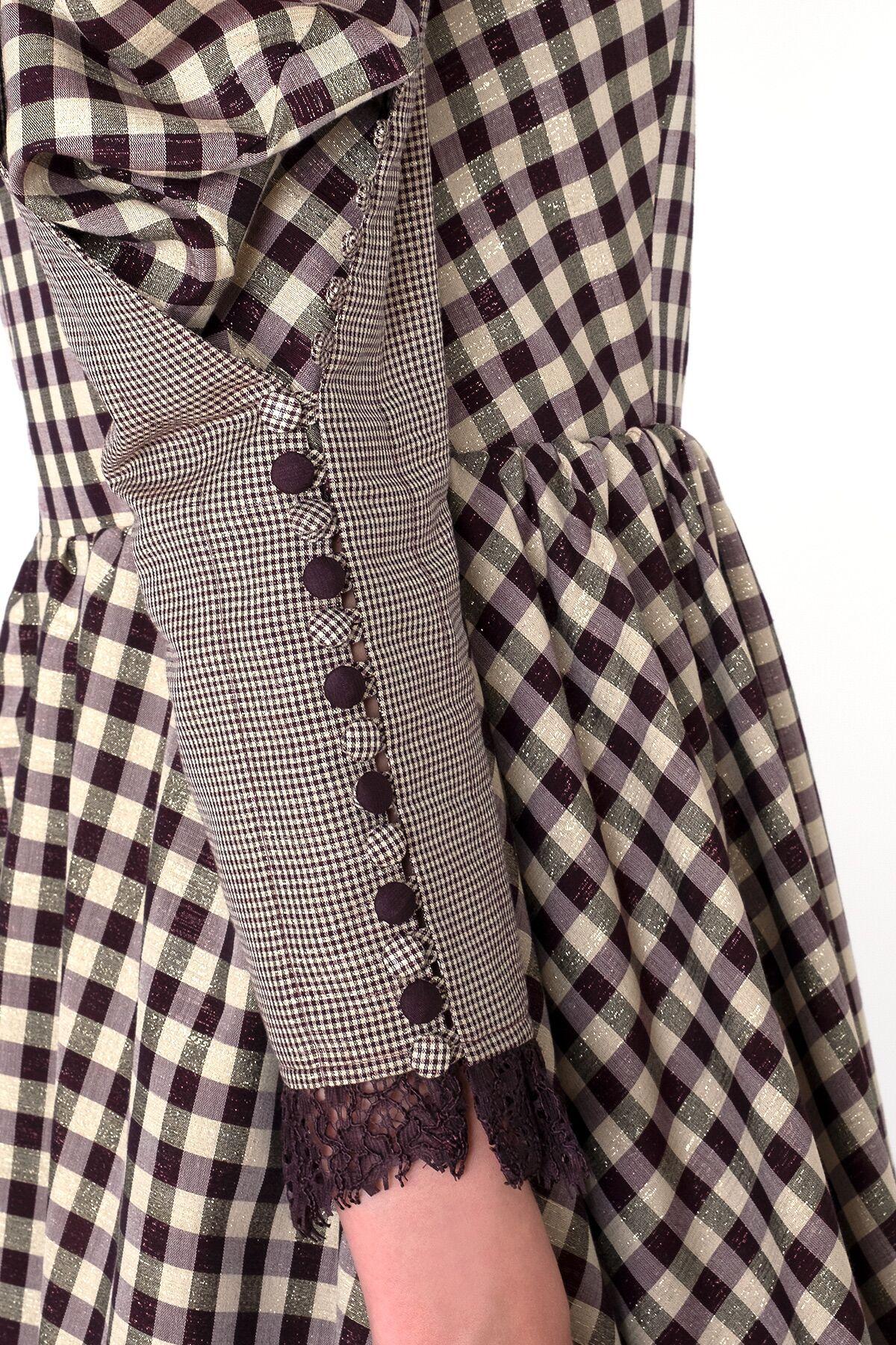 Dantel ve Düğme Kol Detaylı Midi Ekose Elbise
