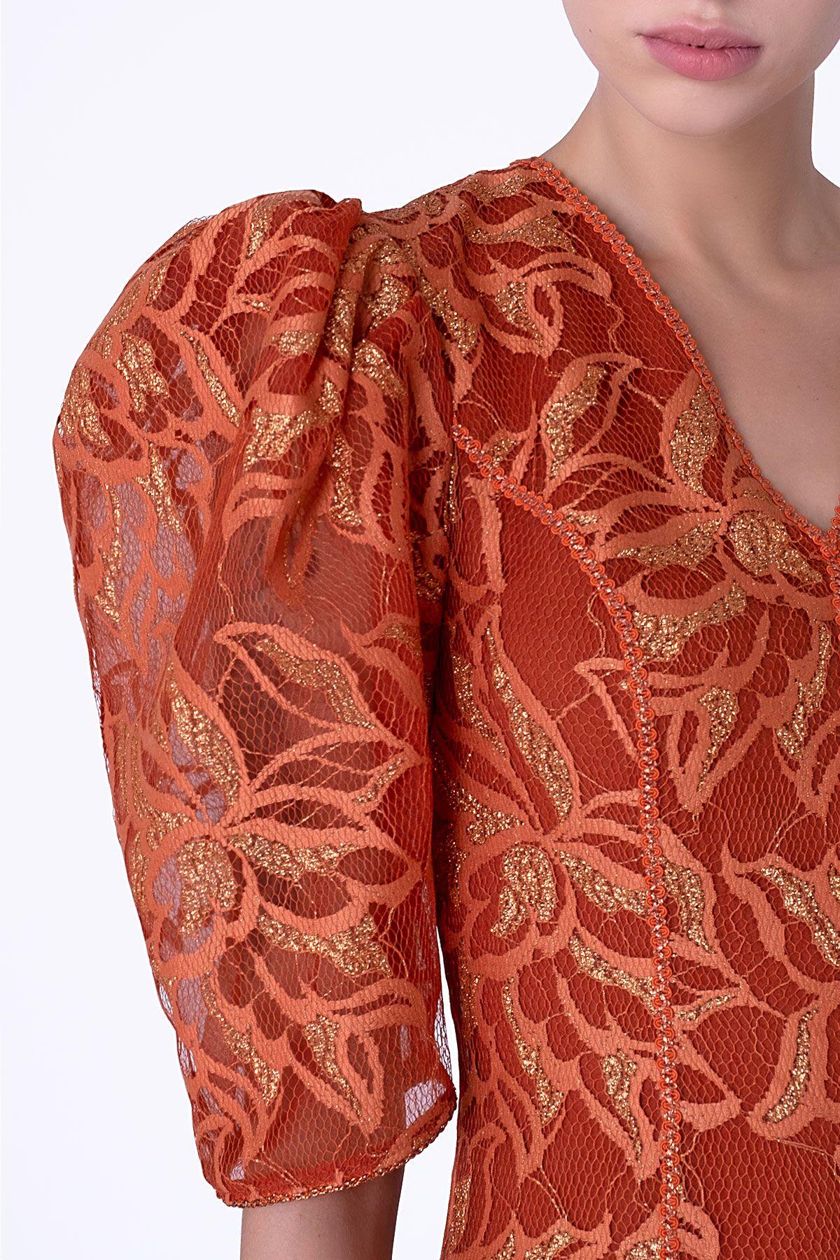Dantel Kumaşlı Turuncu Midi Elbise