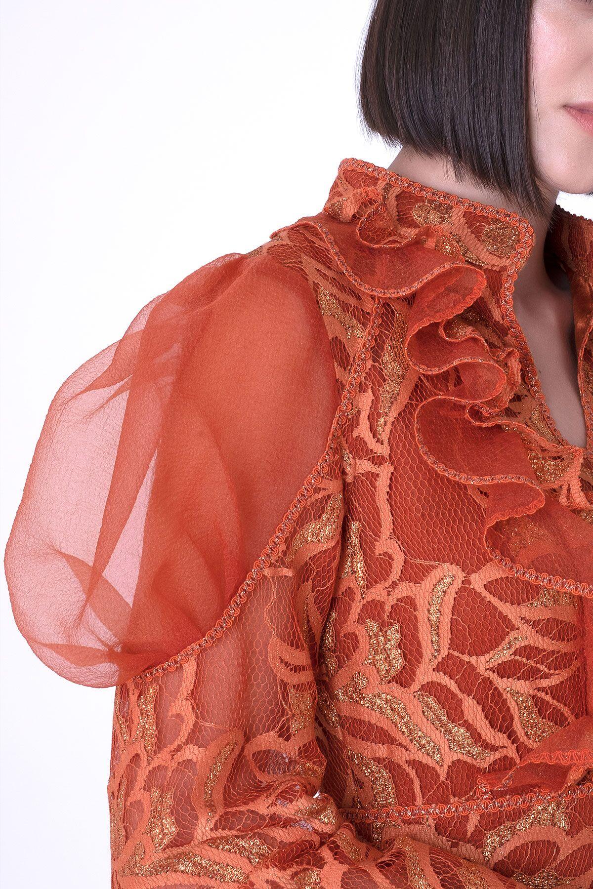 Organze Karpuz Kollu Fırfır Detaylı Dantel Elbise