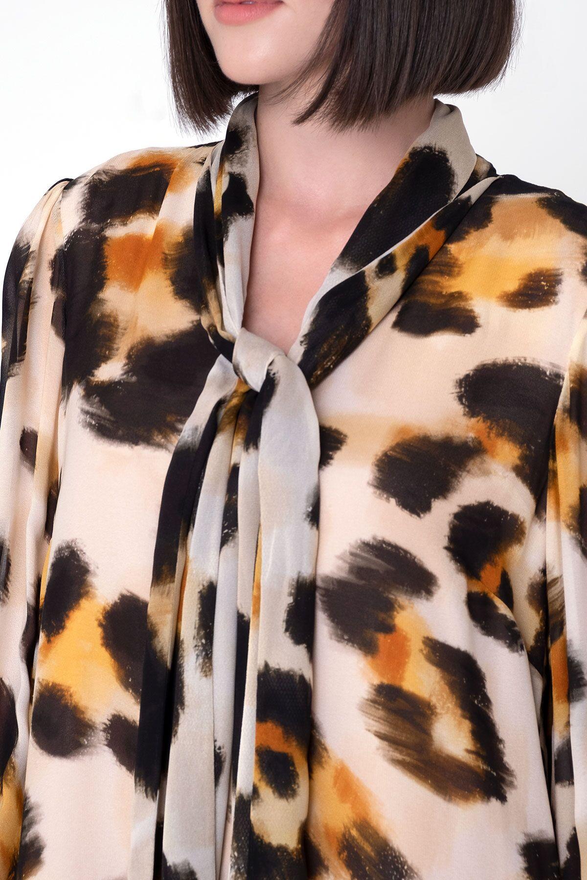 Boyun Bağlama Detaylı Leopar Desenli Uzun Şifon Elbise